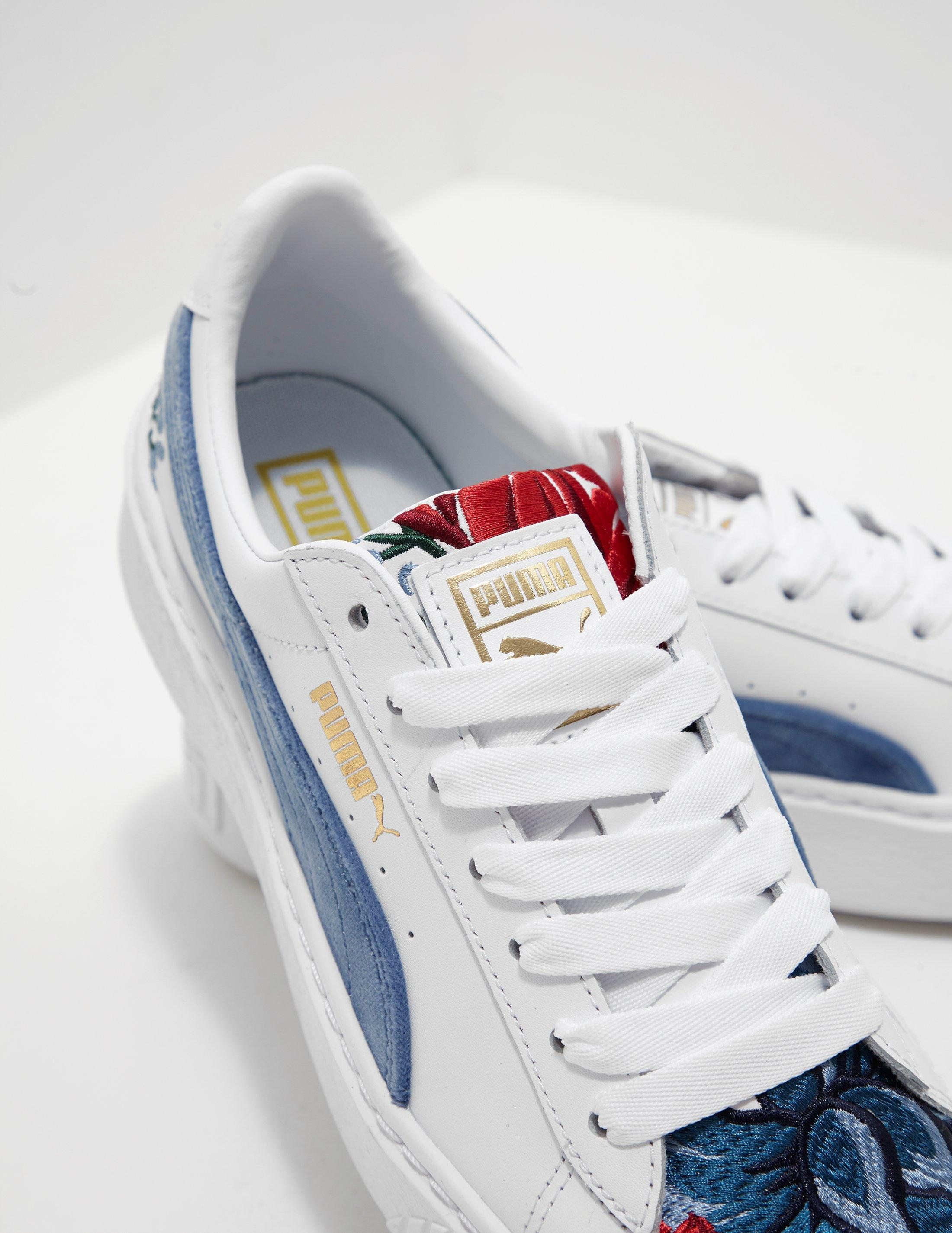 7dc6a9abaa9 Lyst - Puma Womens Embroidered Platform Suede - Online Exclusive White in  White - Save 40.140845070422536
