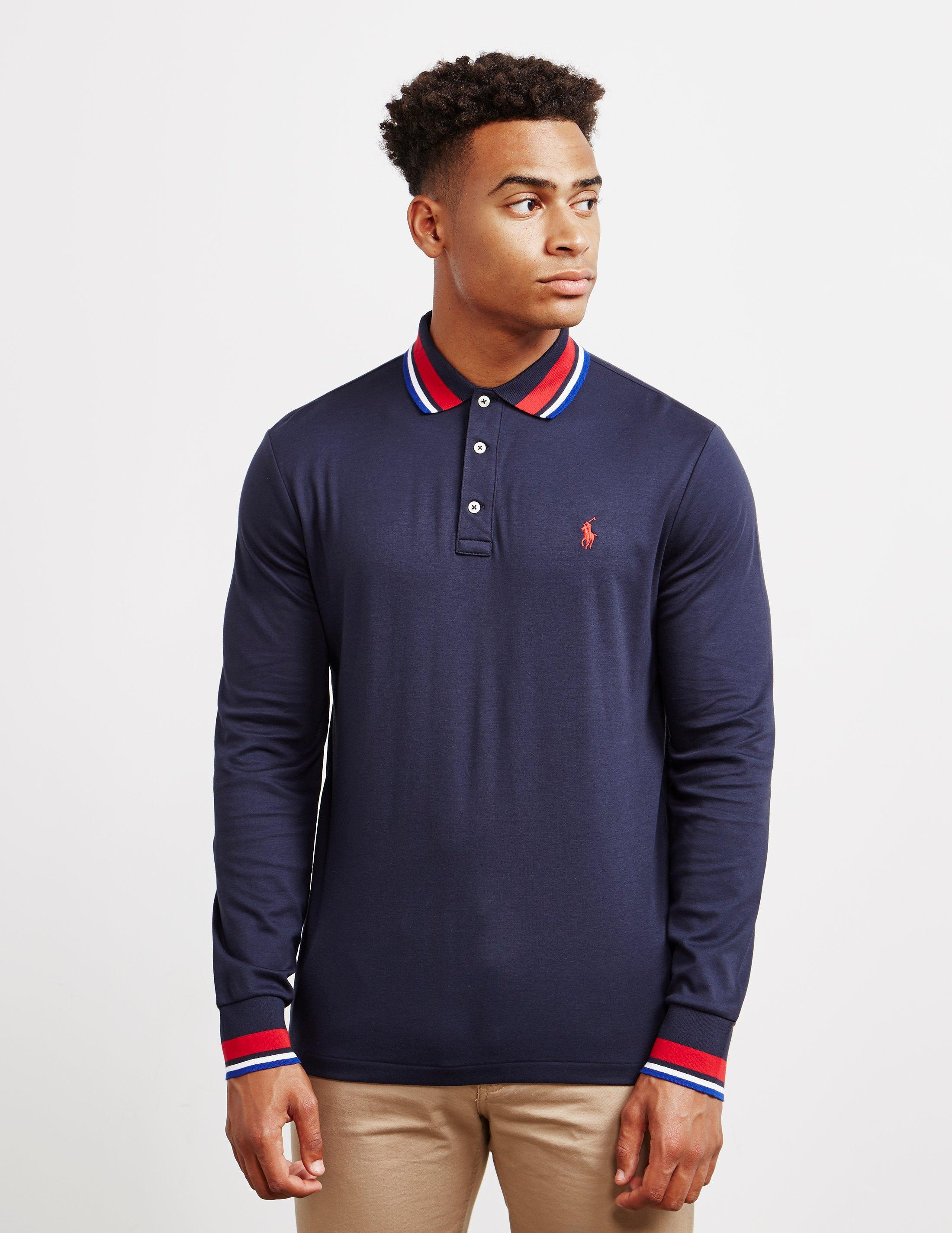Lyst Polo Ralph Lauren Long Sleeve Pima Jersey Polo With Tipped