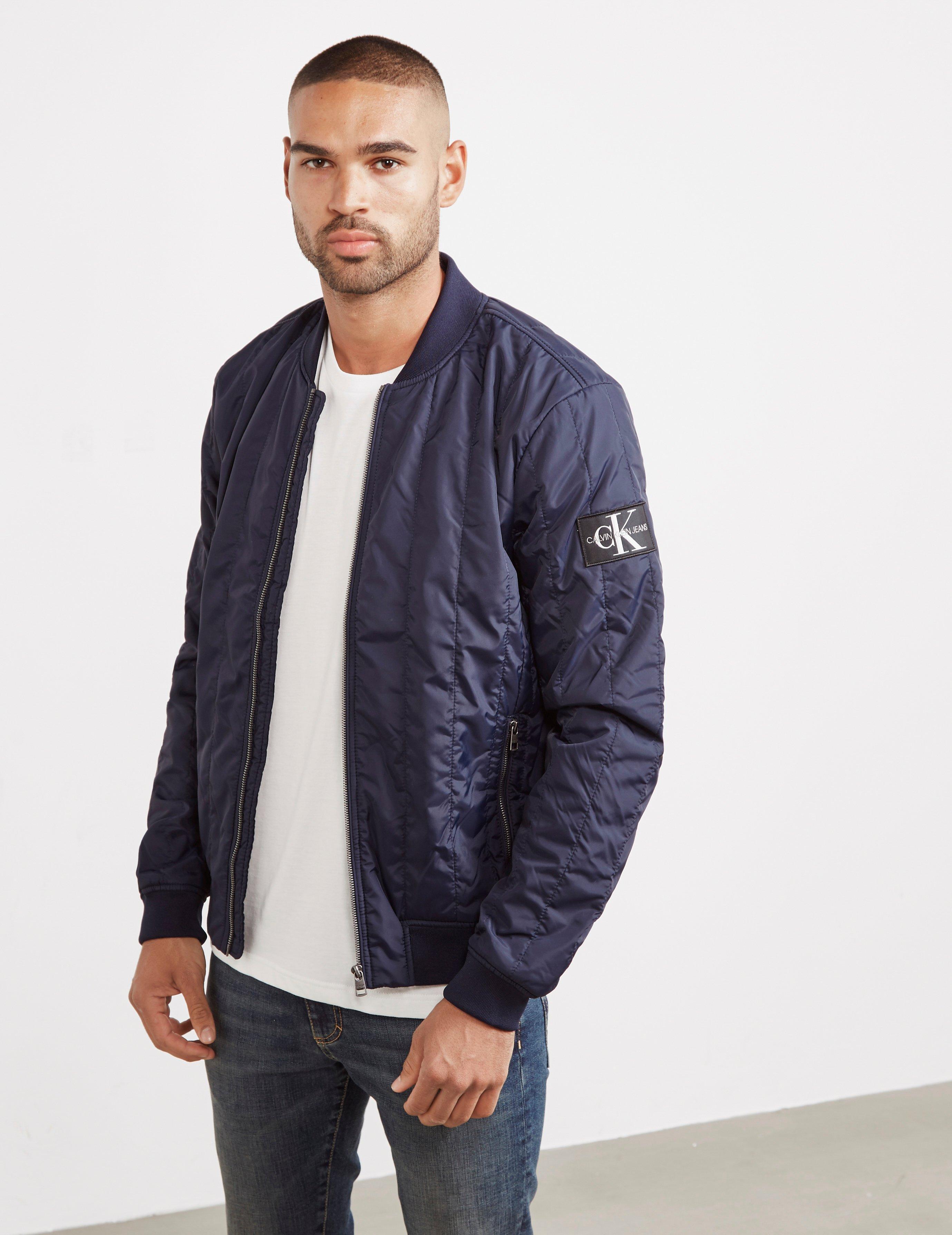 b4fe4b51b Calvin Klein Mens Double Quilted Nylon Bomber Jacket Navy Blue for men