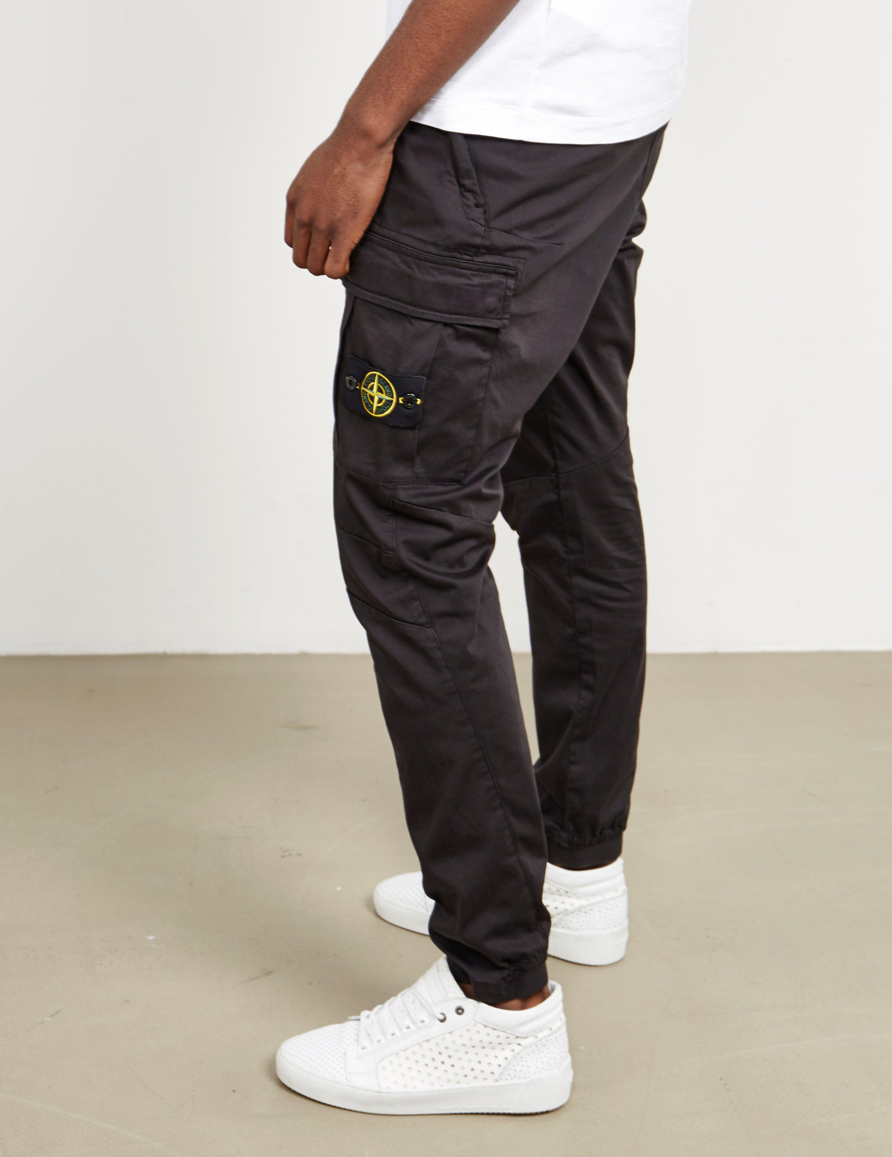 Stone Island Mens Garment Dyed Cargo Pants Black for Men ...