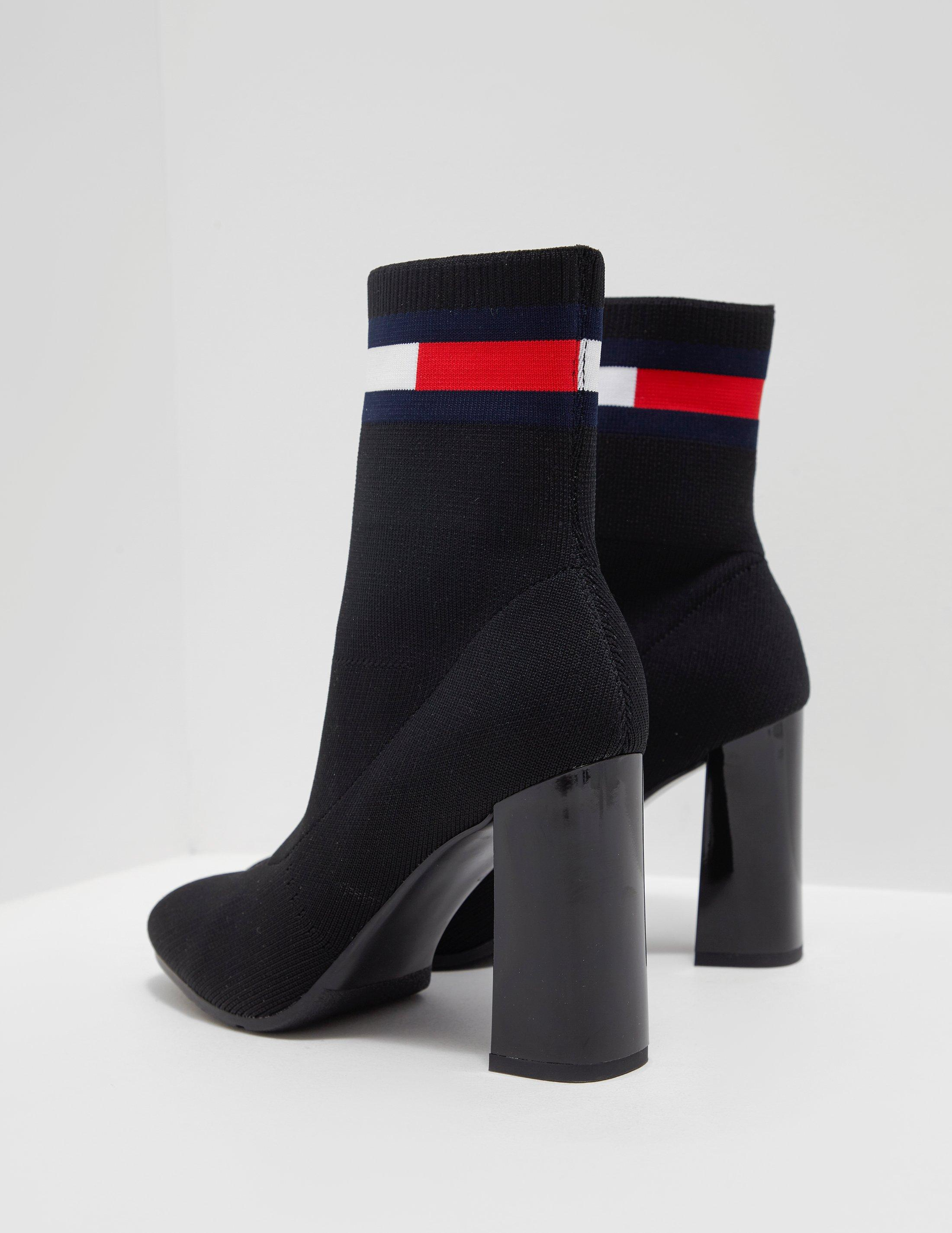 48460132cf9 Tommy Hilfiger Womens Sock Heeled Boots Black - Lyst