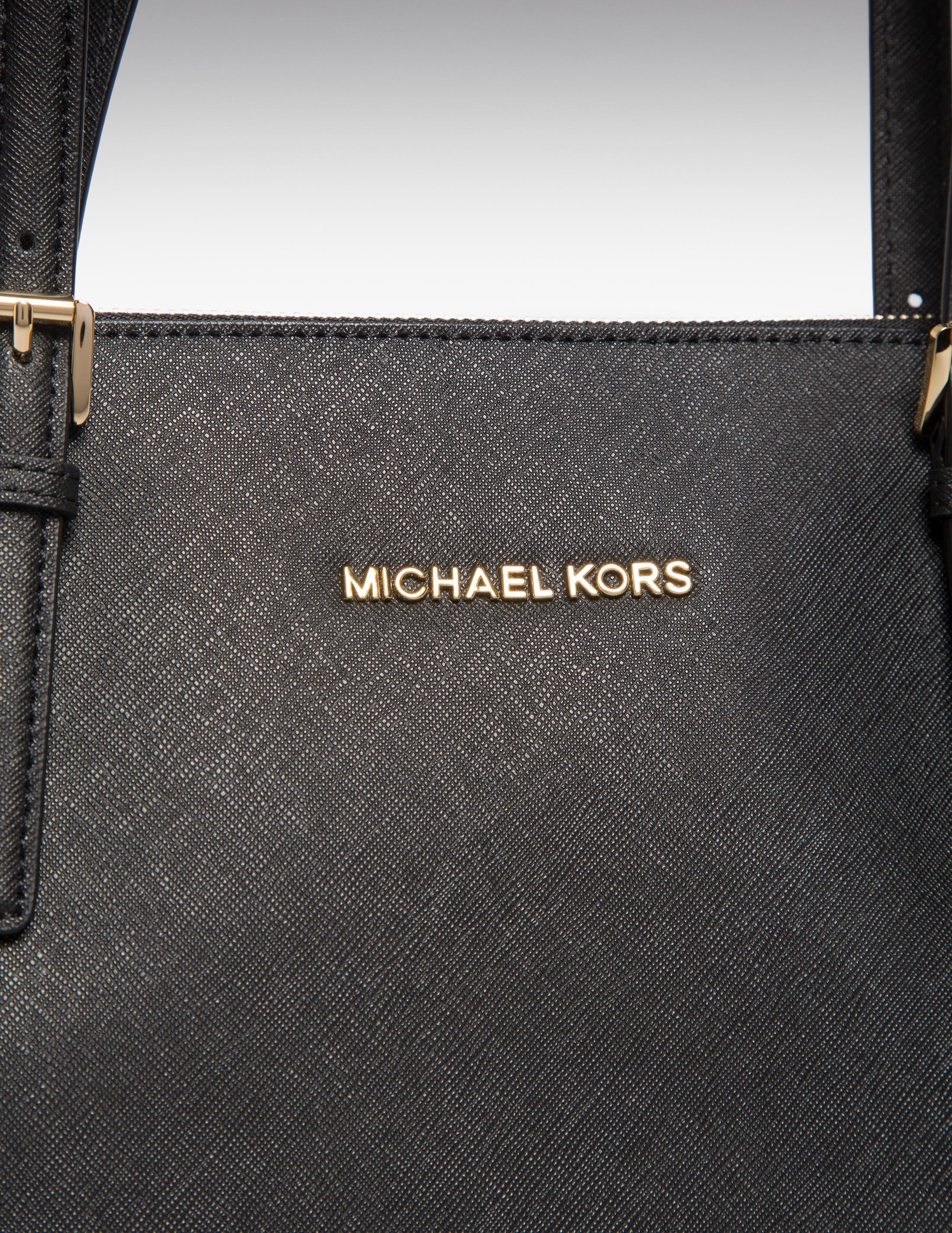 Michael Kors Leather Top Zip Tote Bag Black
