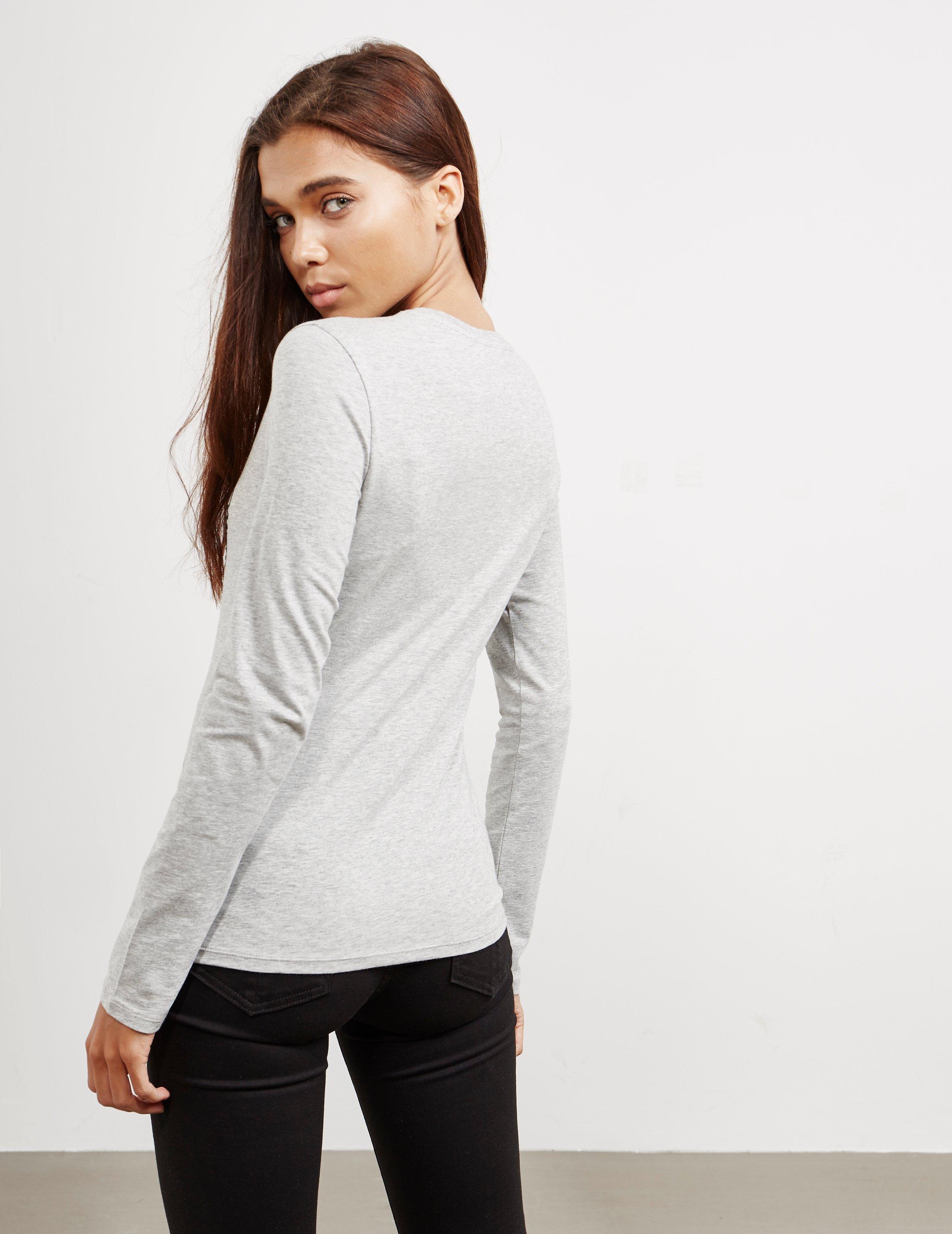 Grey T Armani Heart Long Scribble In Sleeve Emporio Shirt Womens Aqw11F