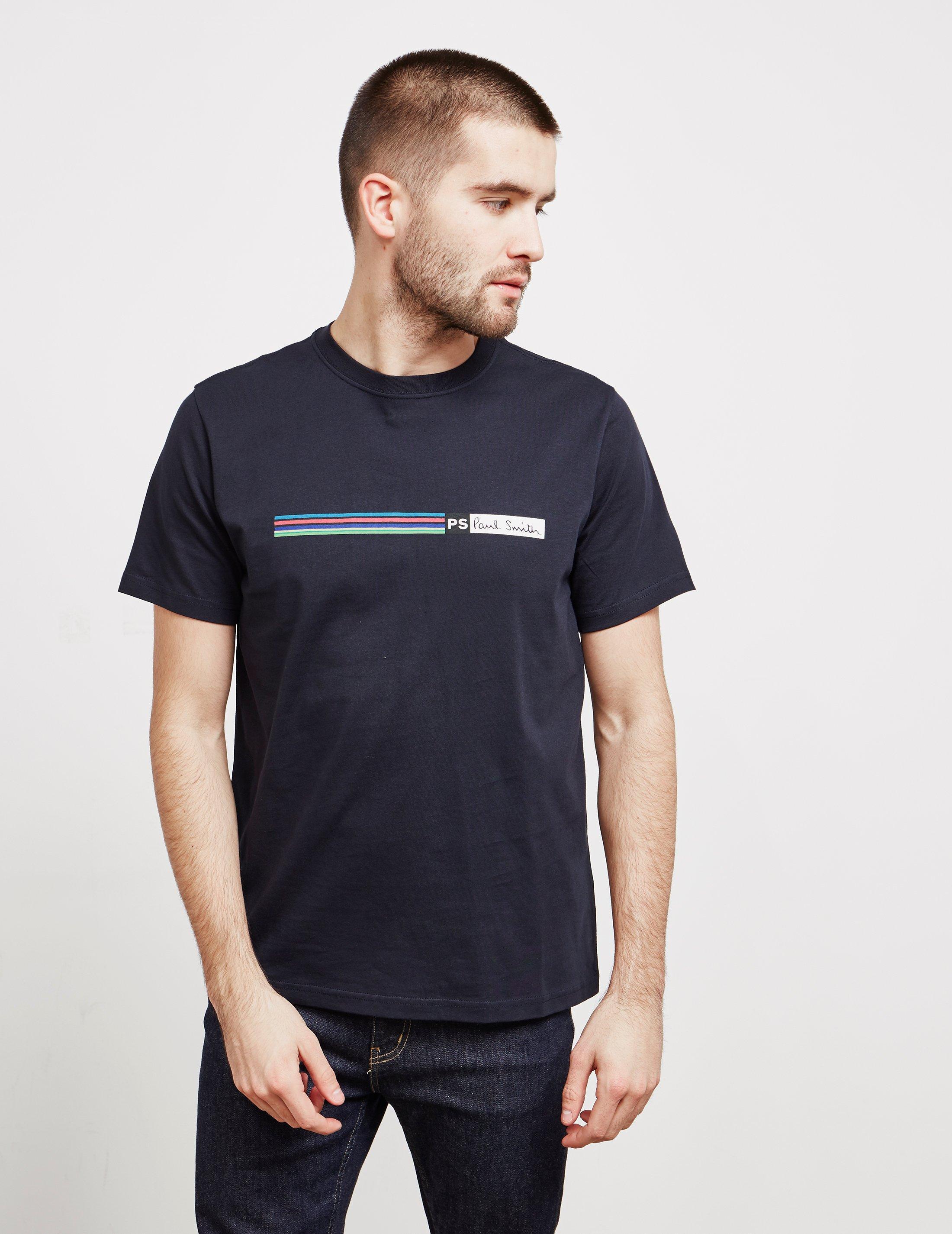 5f176d5b30 Lyst - PS by Paul Smith Multi Stripe Short Sleeve T-shirt Navy Blue ...