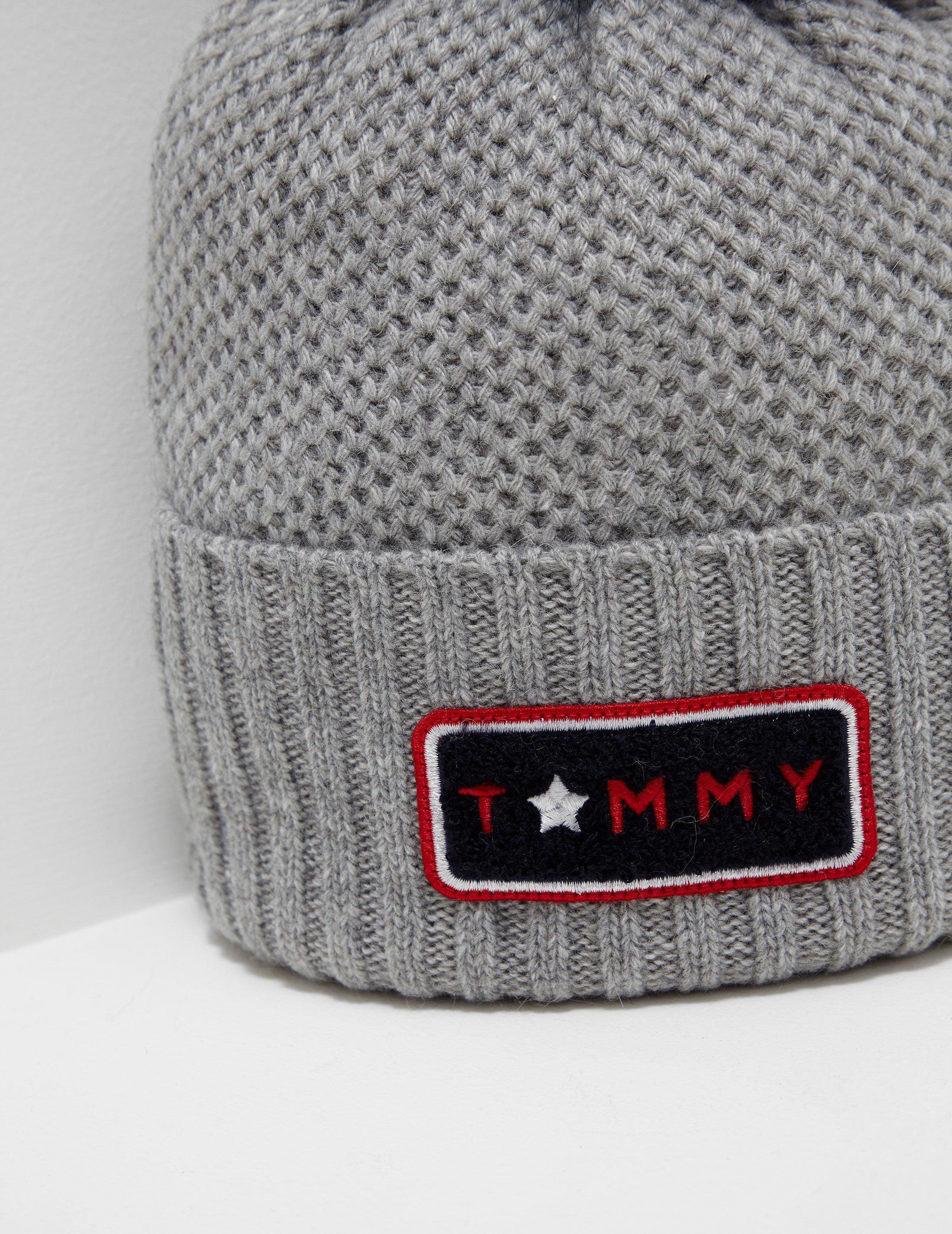6d5ab9a9d Tommy Hilfiger Womens Fur Pom Beanie Grey/blue, Grey/blue in Gray - Lyst