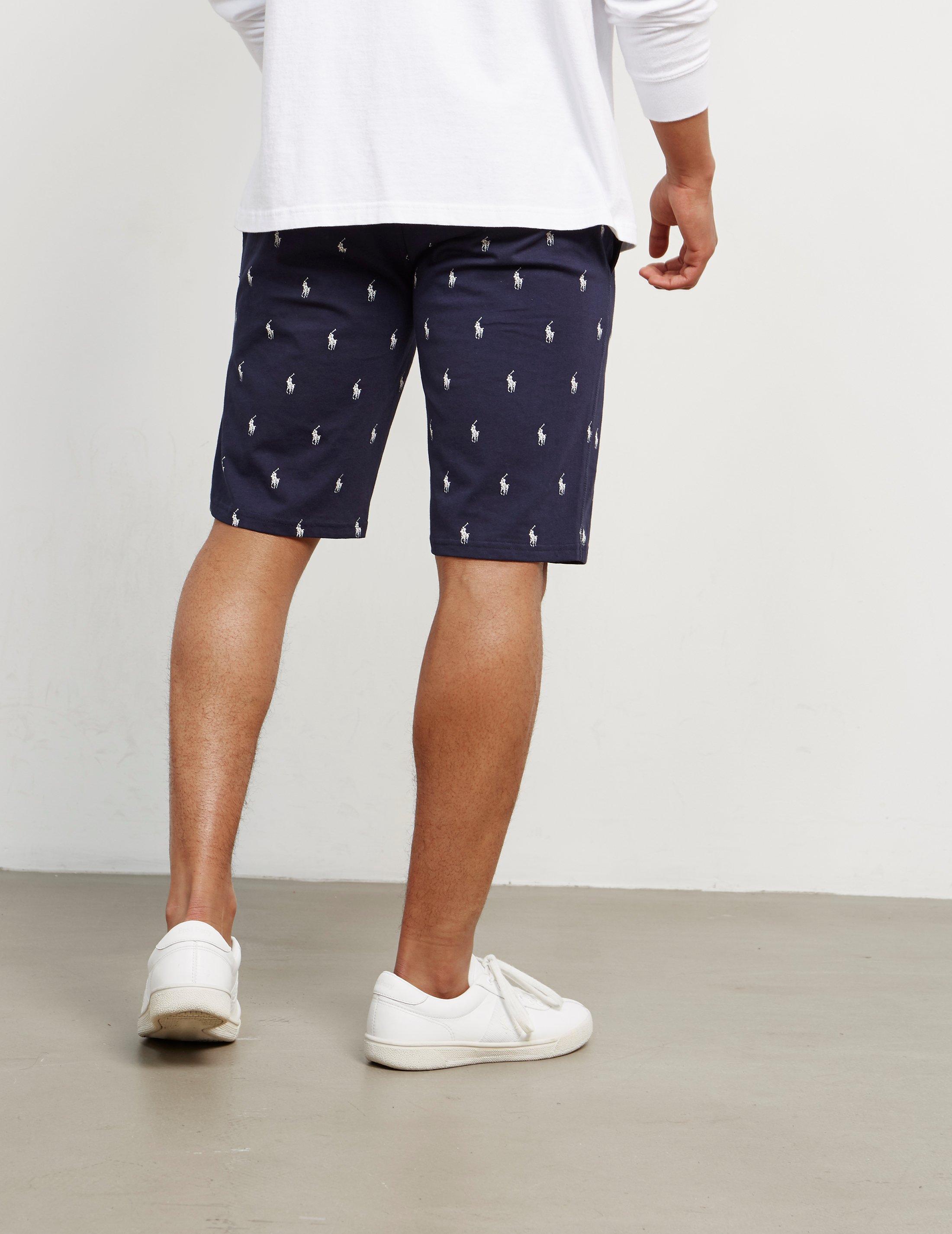 For Ralph Lauren Navy Print Blue Over Shorts All Men Polo Mens L54ARj