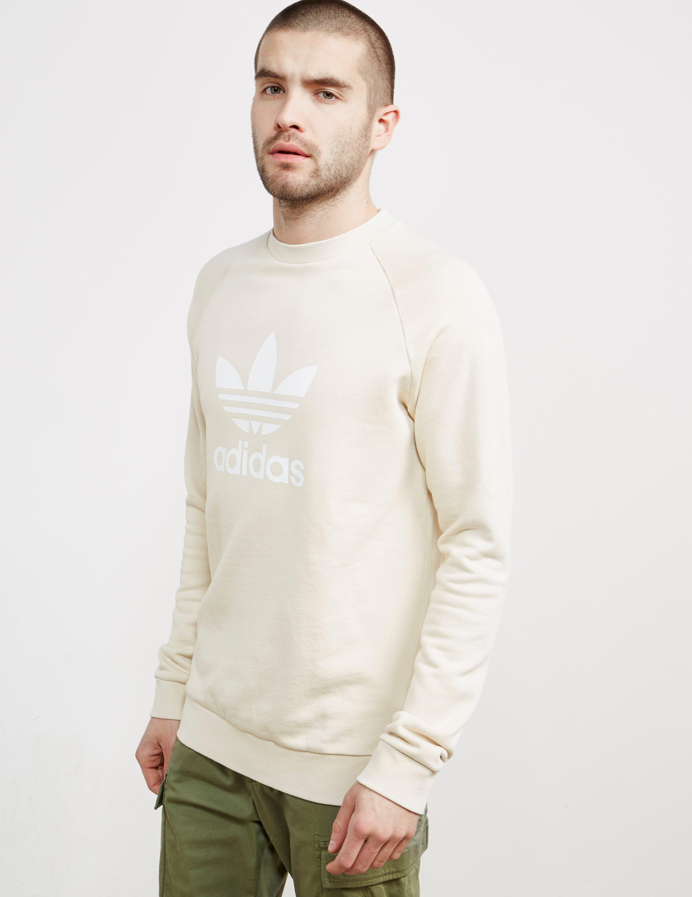 Adidas Originals Multicolor Mens Trefoil Crew Sweatshirt Linen for men