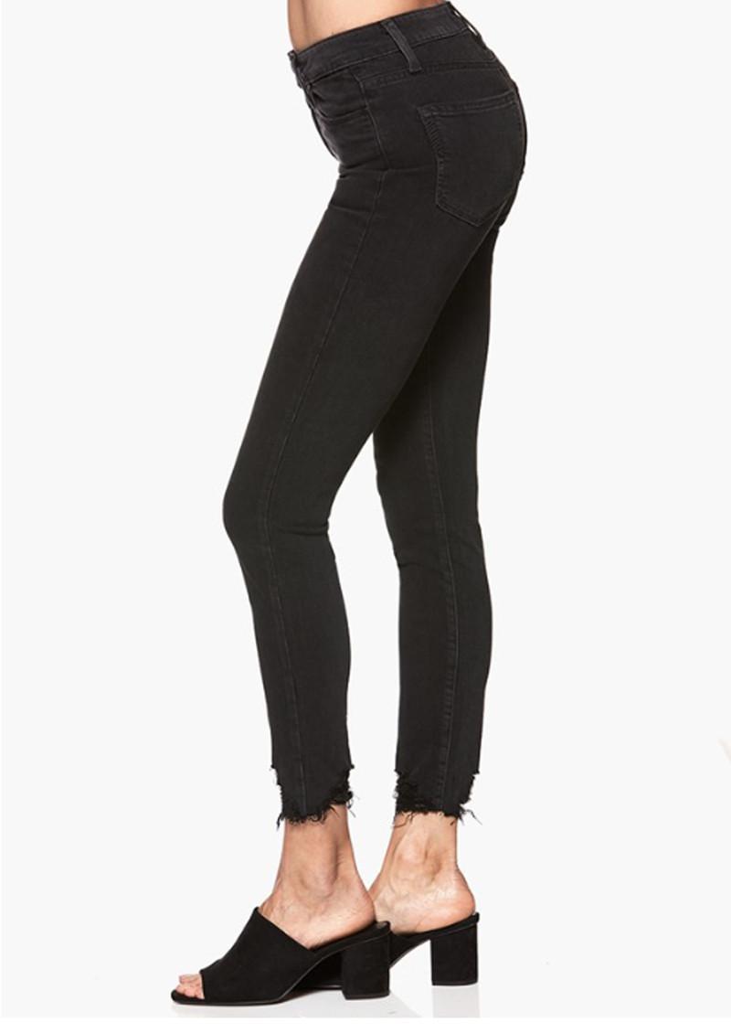 PAIGE Denim Margot Crop Ultra Skinny Jeans With Distressed Hem in Black