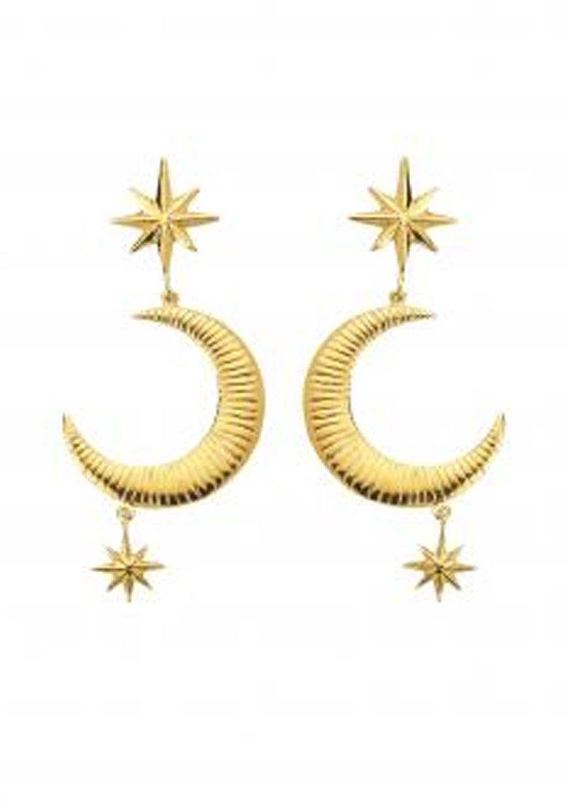 Marte Frisnes gold metallic moon and stars sterling silver earrings 9CYNl
