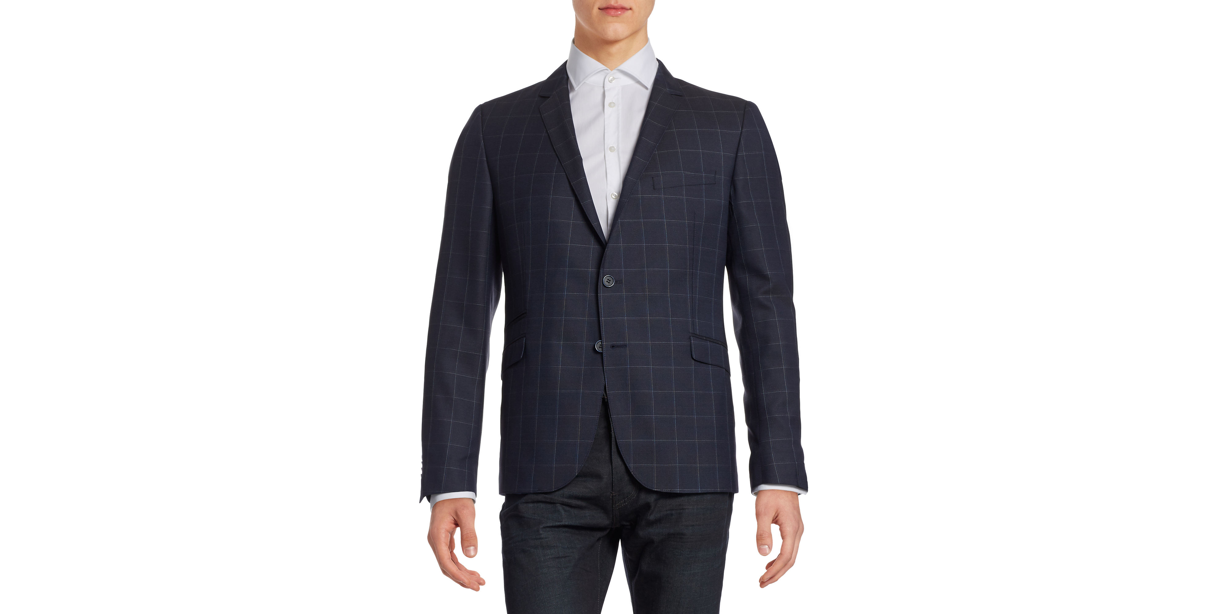 strellson slim fit grid check wool silk sports jacket in black for men. Black Bedroom Furniture Sets. Home Design Ideas