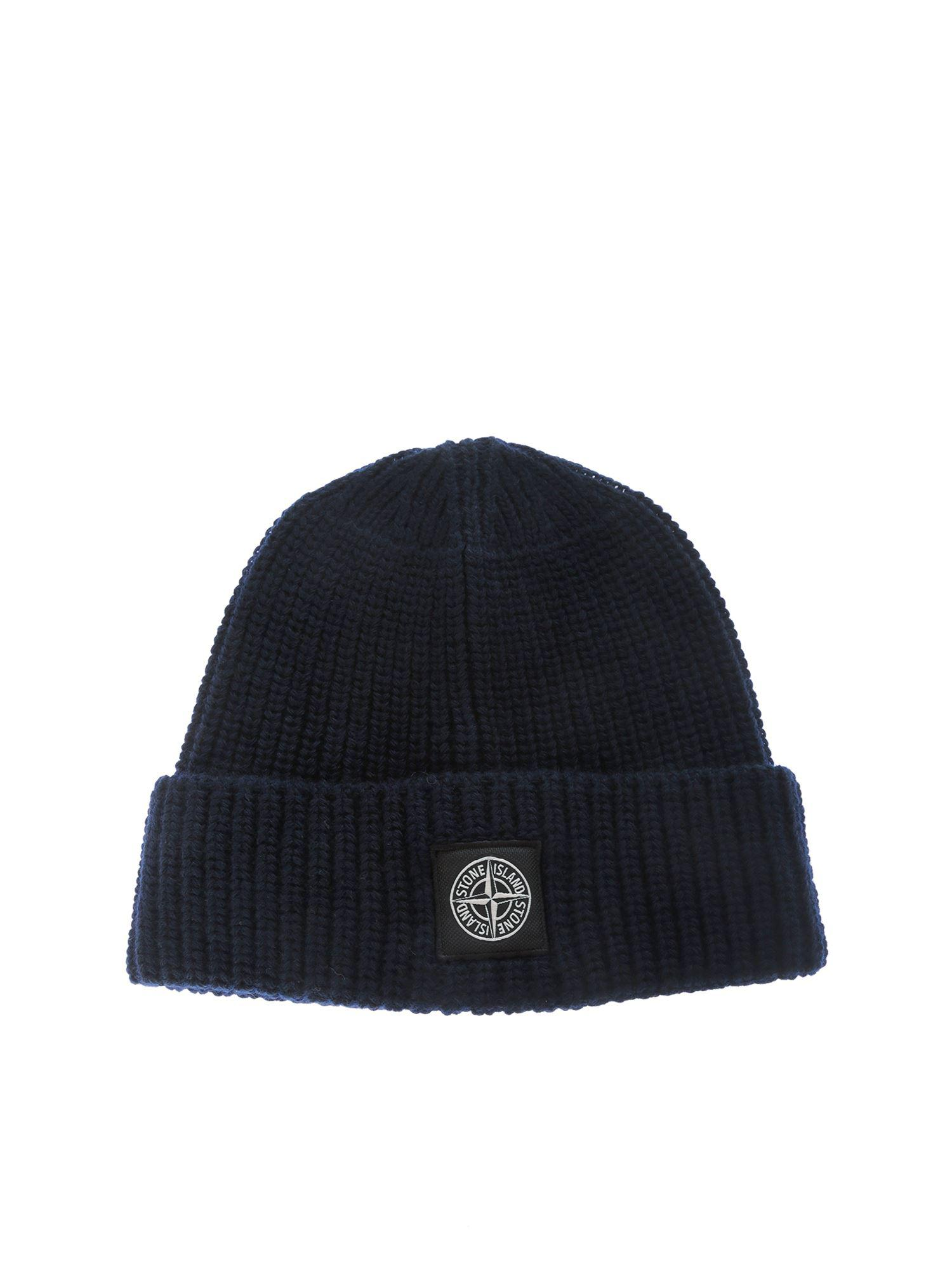 11e714608 Lyst - Stone Island Dark Blue Ribbed Wool Beanie in Blue for Men