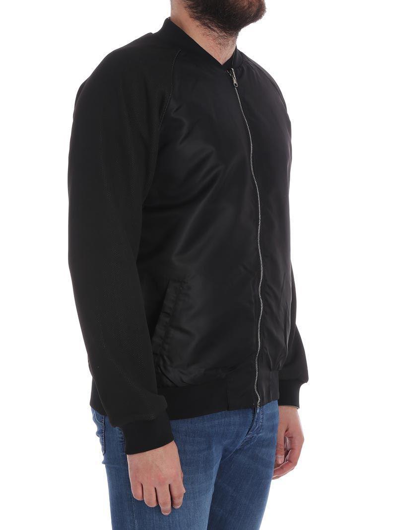 Karl Lagerfeld Synthetic Reversible Bomber Jacket in Black for Men