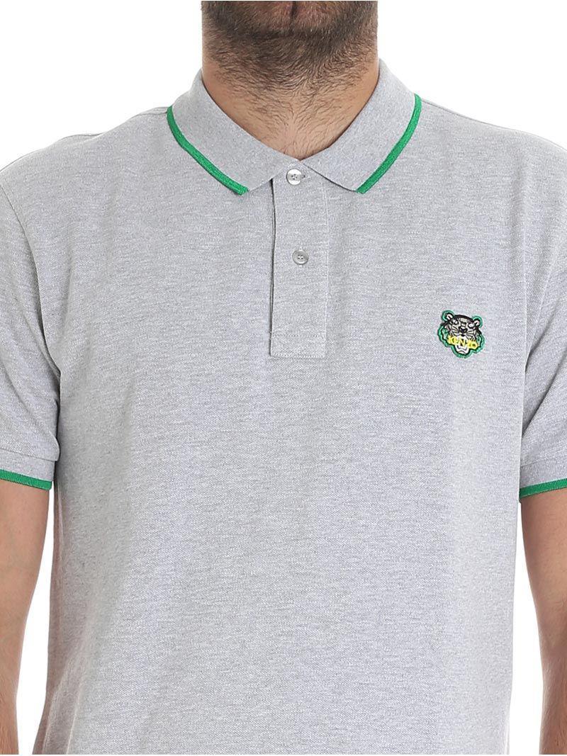 KENZO Cotton Gray Melange Polo With Logo for Men