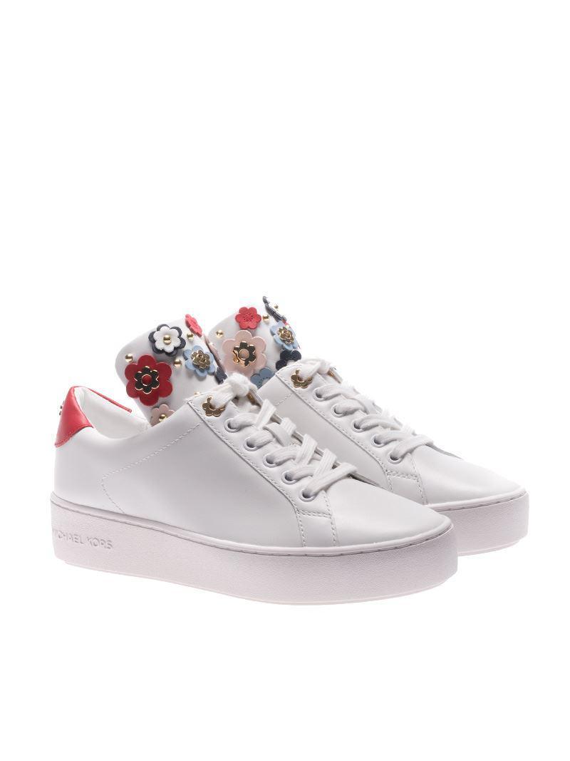 michael michael kors mindy butterfly appliqu茅 leather sneaker