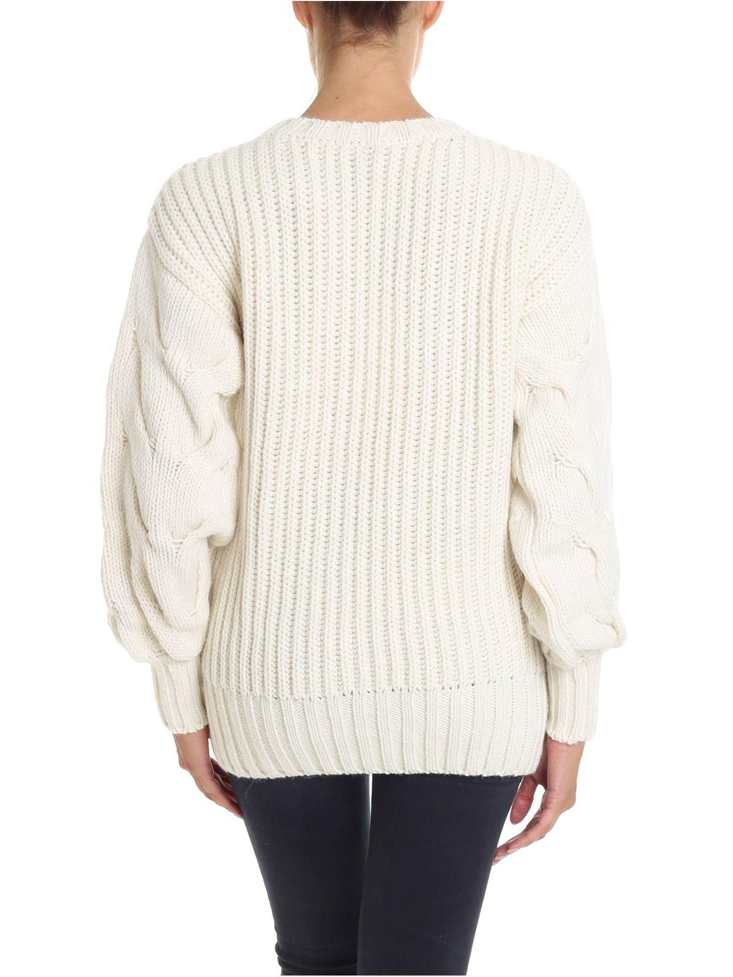 P.A.R.O.S.H. Wool Cream-color Knitted Pullover in Natural
