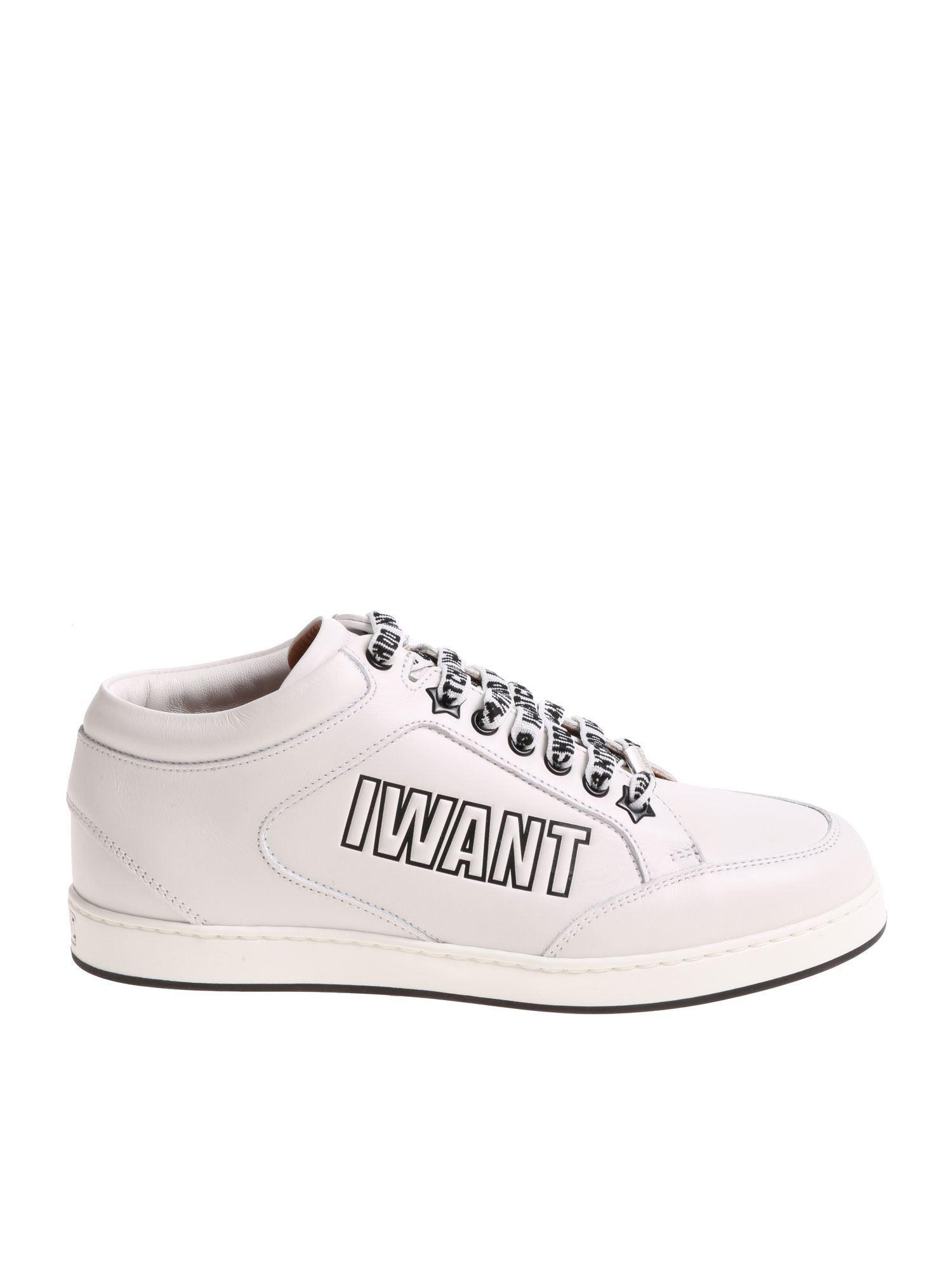 07921a0f3a89 Lyst - Jimmy Choo Miami I Want Choo White Sneakers in White