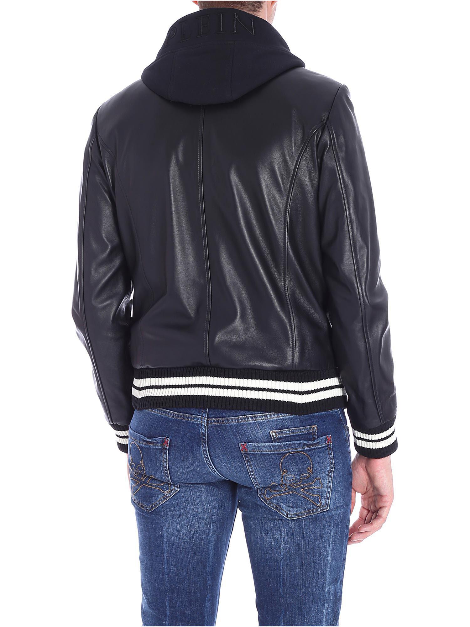 Philipp Plein Black Agressive Leather Bomber Jacket for Men