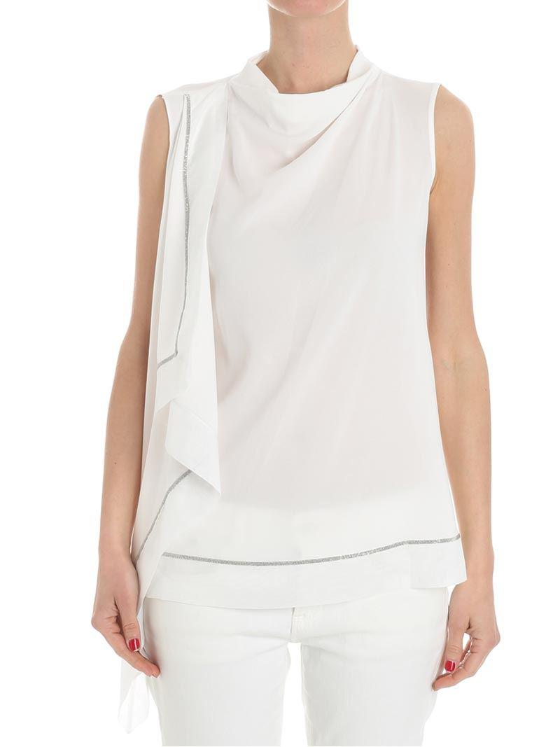 Silk top with silver micro-beads Fabiana Filippi Shop Sale Online Cheap Looking For Free Shipping Lowest Price Free Shipping Ebay Cheap Brand New Unisex 0qSHU1