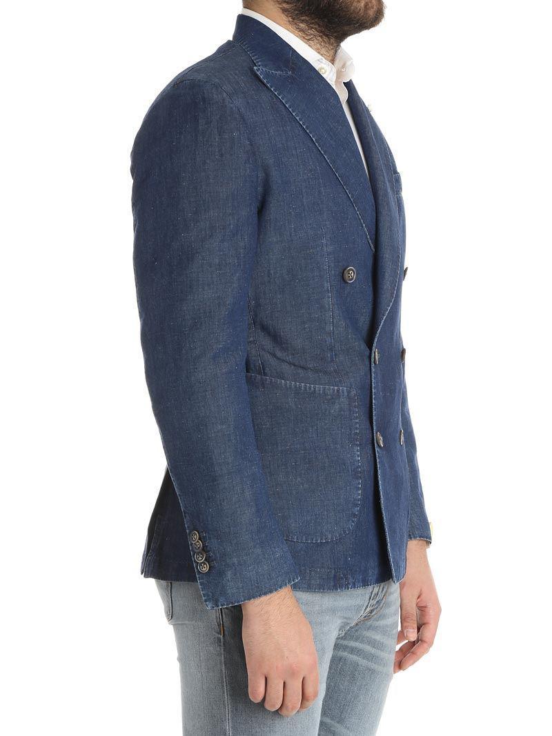 Luigi Bianchi Mantova Blue Double-breasted Denim Jacket (rough Line) for Men