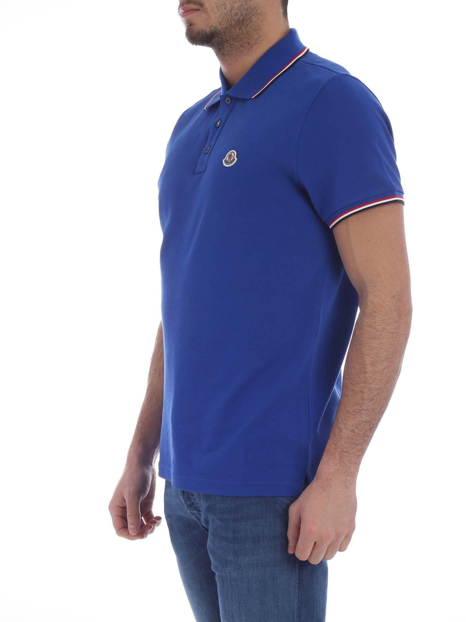 113b50095d521 Moncler Bluette Polo Shirt With Logo in Blue for Men - Lyst