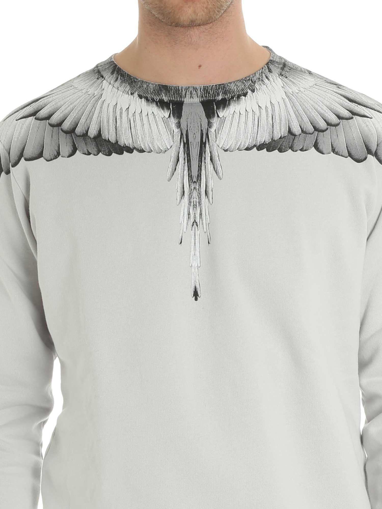 Marcelo Burlon Cotton Gray Wings Sweatshirt for Men