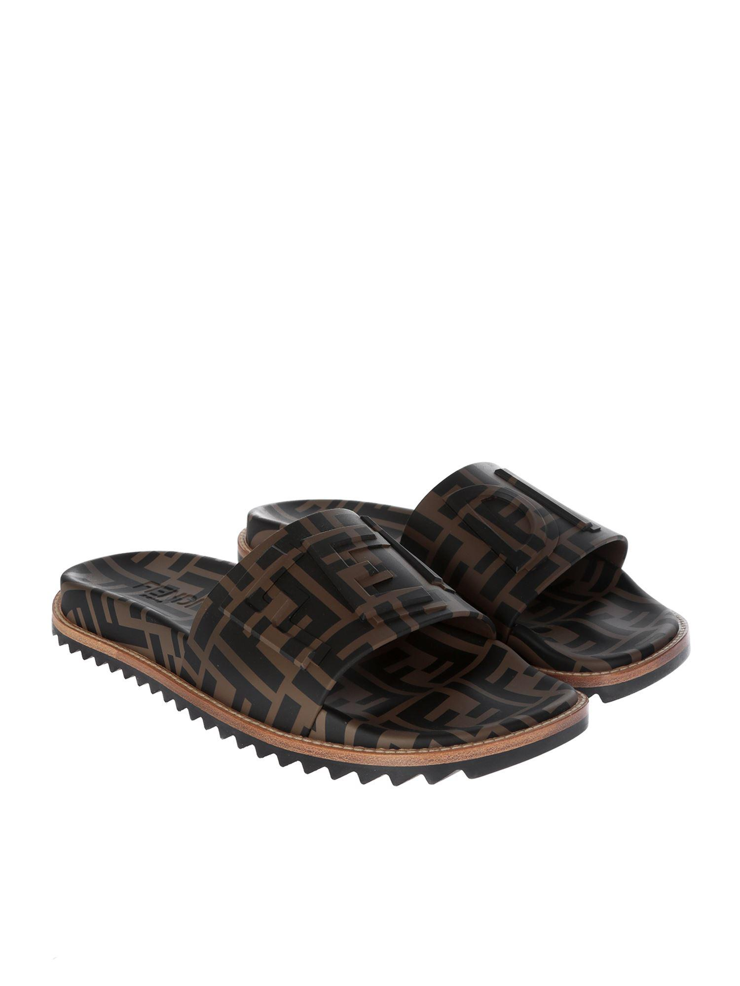a0e084582418 Fendi Maya Ff Black And Brown Slides in Black for Men - Lyst