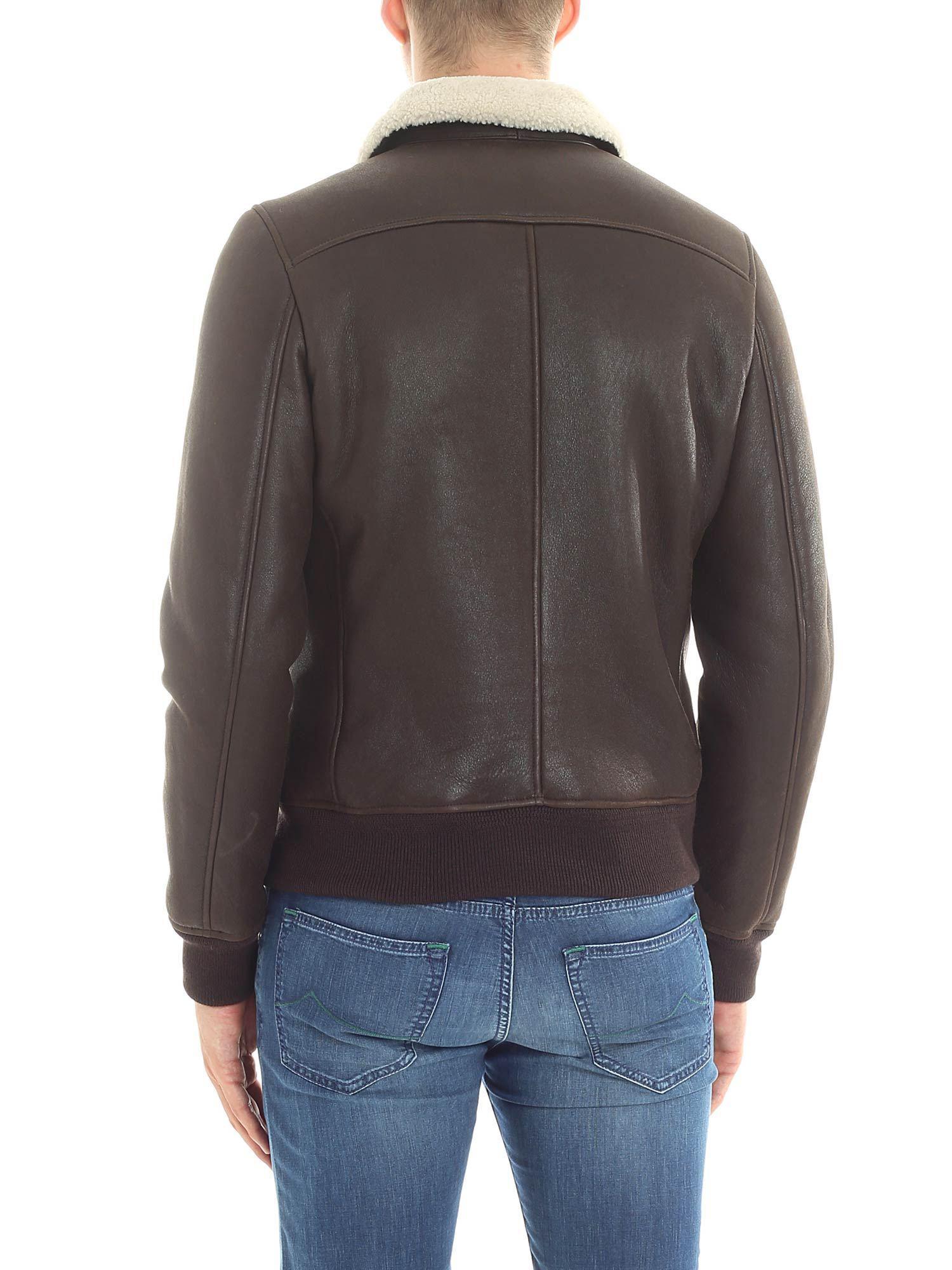 Stewart Brown Nubuck Leather Jacket for Men
