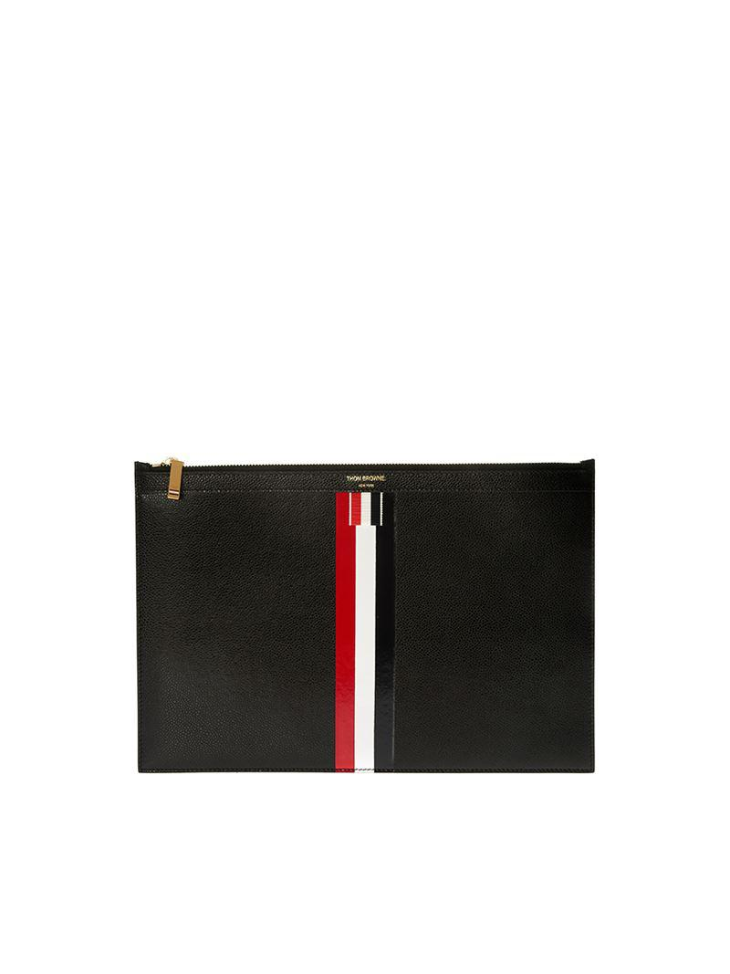 e7af01cbac Thom Browne Black Hammered Leather Zip Clutch Bag in Black - Lyst