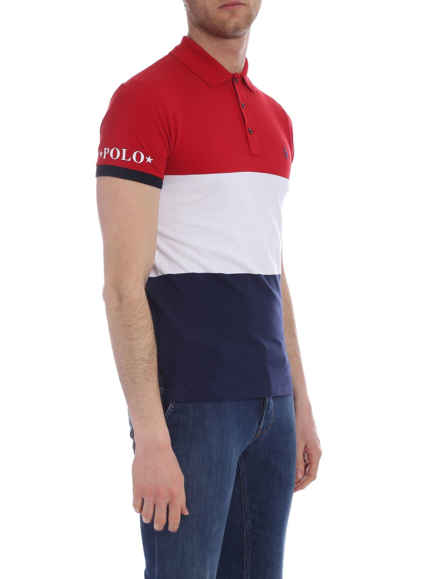 d83a82a3 Polo Ralph Lauren Red, White And Blue Polo in Red for Men - Lyst