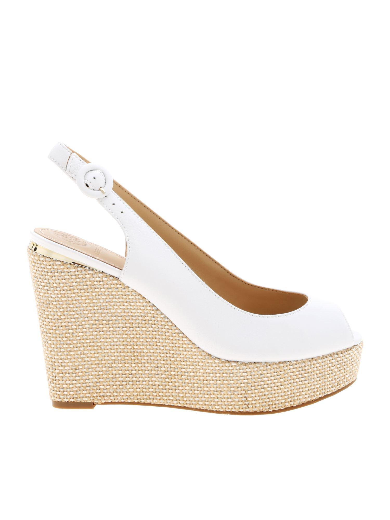 Guess Leather Hardy Wedges in White - Lyst