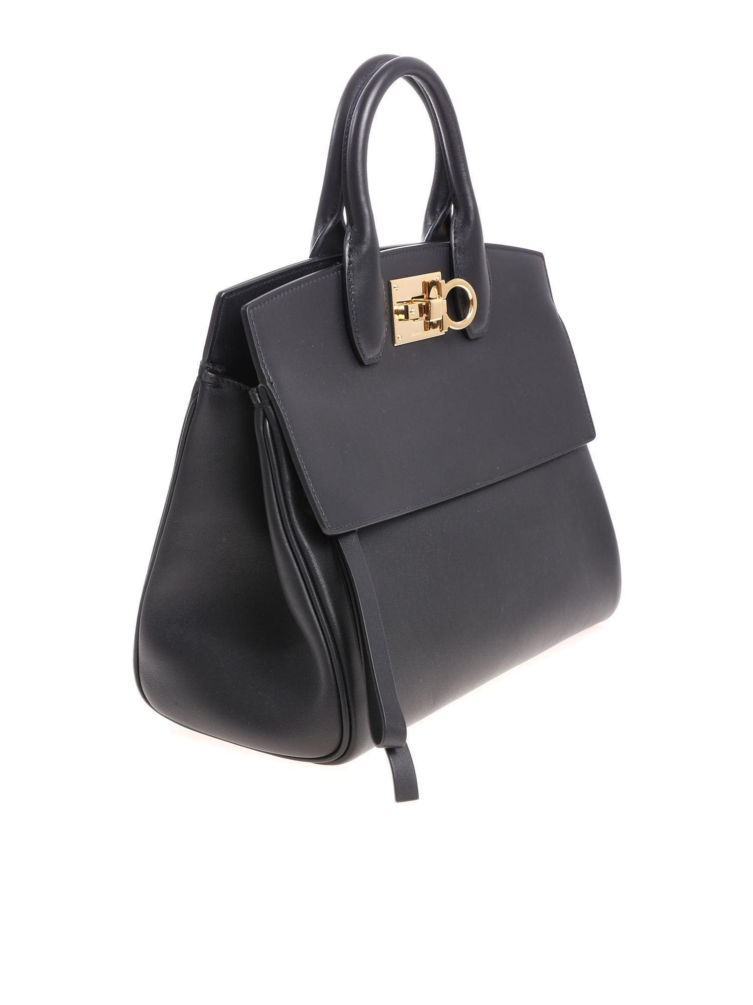 Ferragamo Leather Black Tote Studio Bag