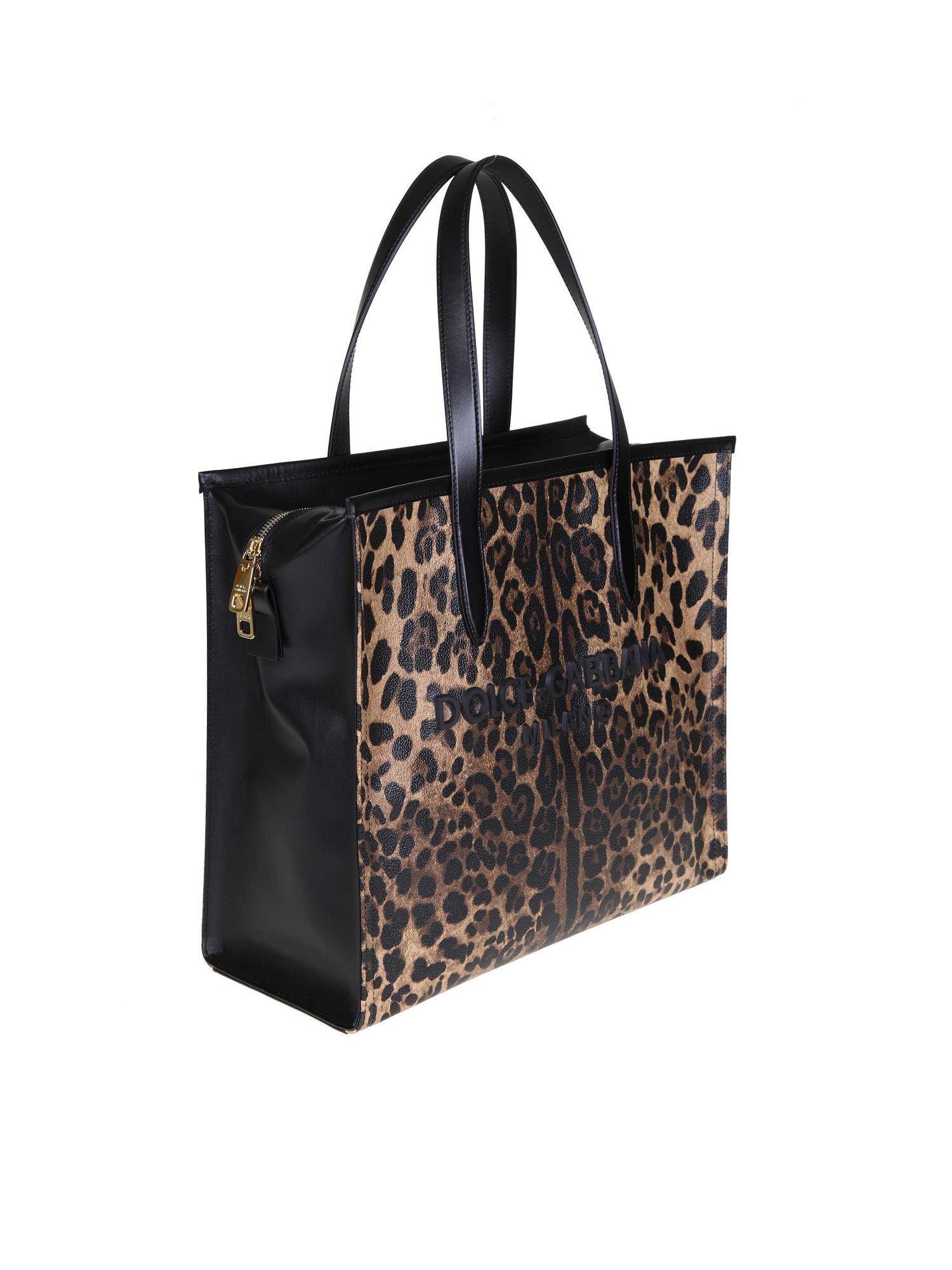 58ec5b373642 Lyst - Dolce   Gabbana Leopard Medium Market Shopping Tote in Black - Save  32%