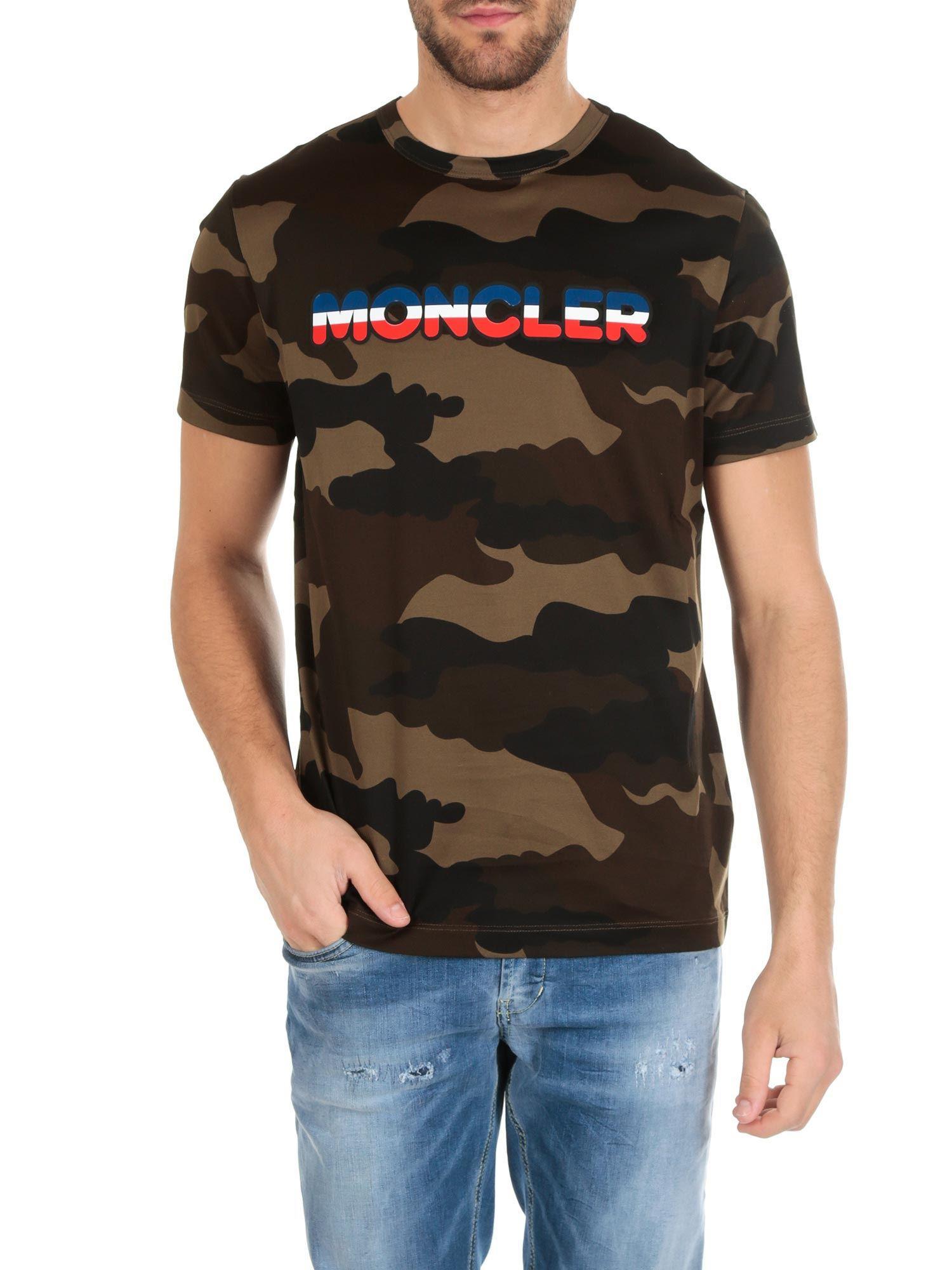 4456459b4 Moncler - Black Camouflage T-shirt for Men - Lyst. View fullscreen