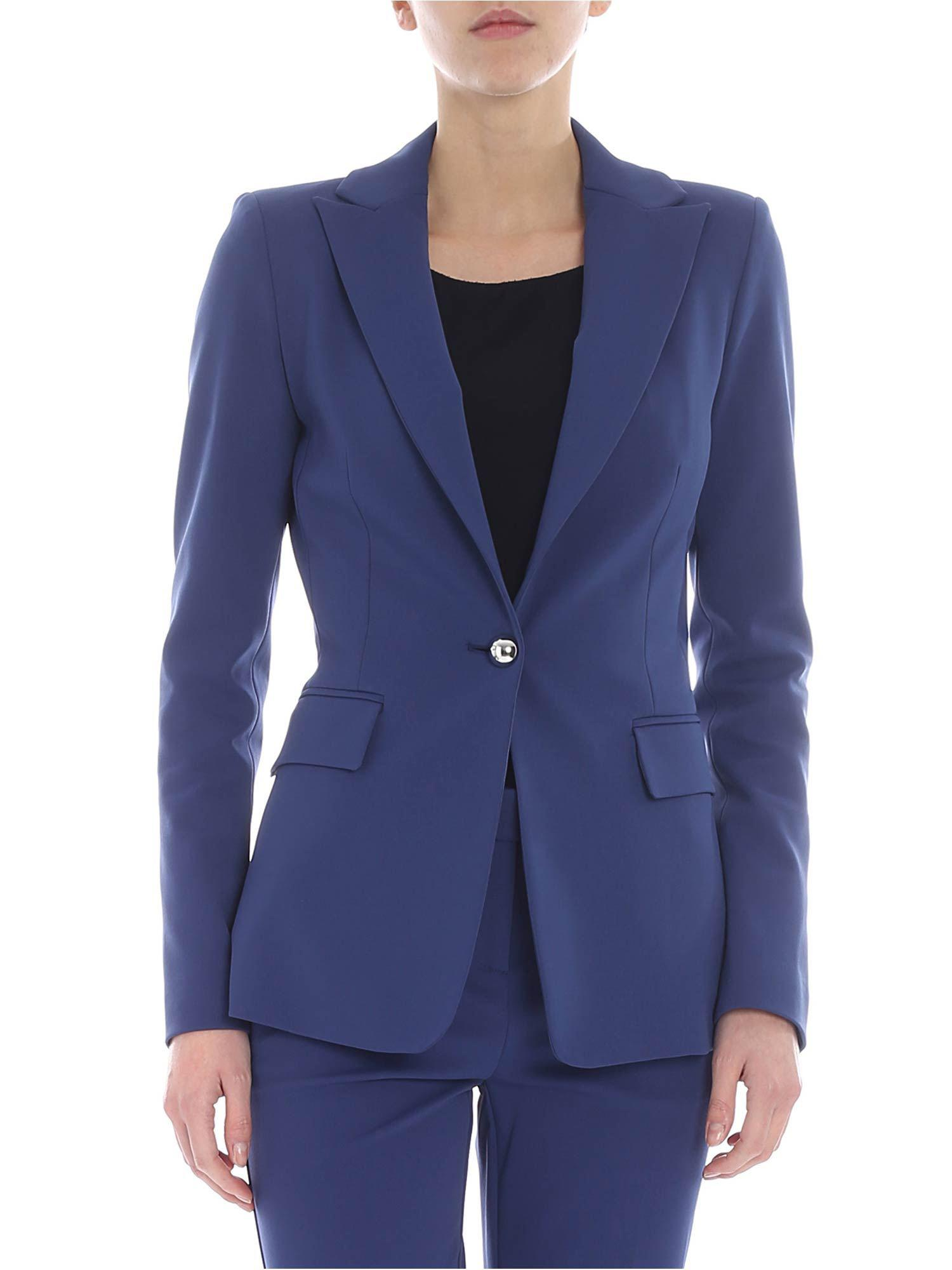 Pinko Signum 6 Jacket In Blue Milano Fabric In Blue Lyst