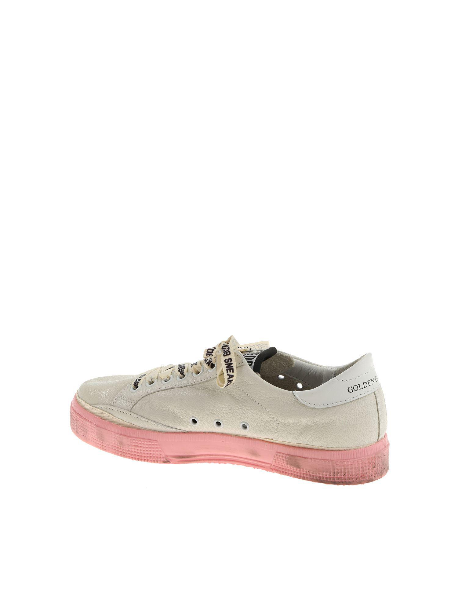 Golden Goose Deluxe Brand Leather White And Pink May Sneakers