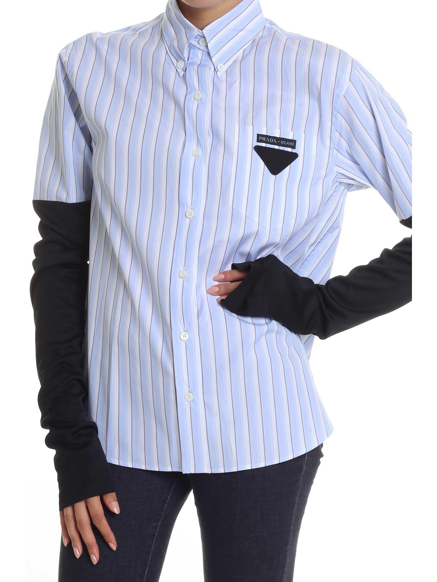 Prada A Camisa Rayas Contraste Gris CSxqPw