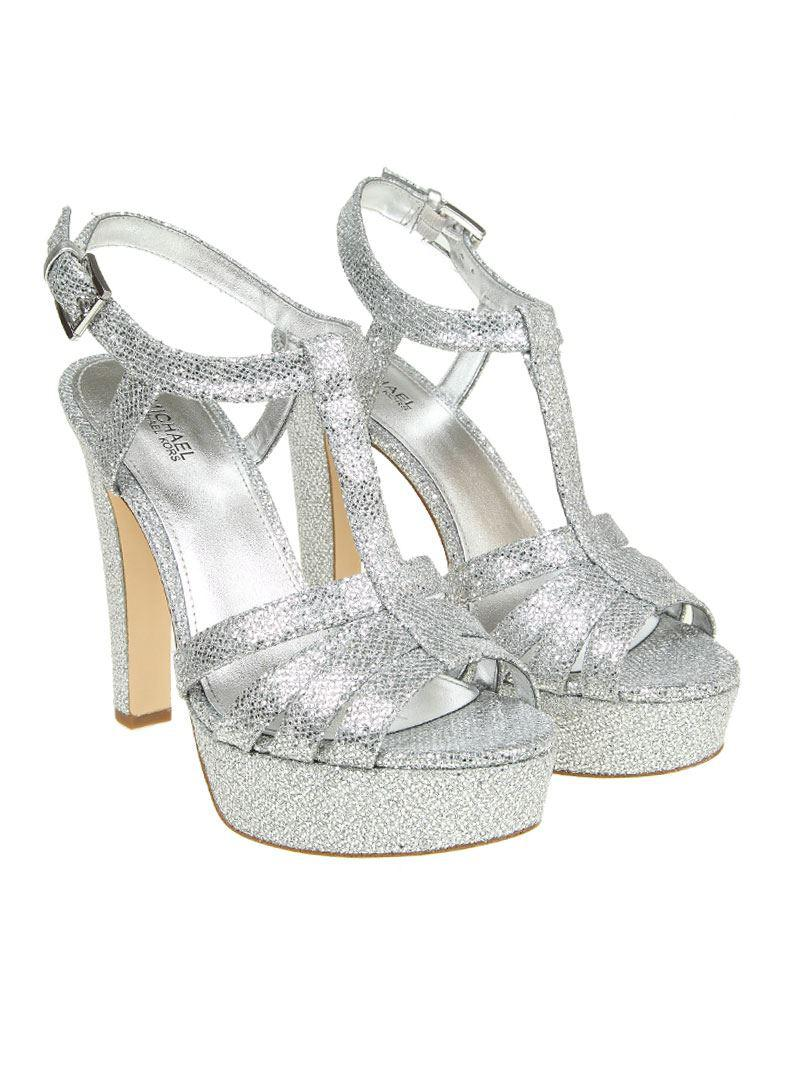 afc6d4c22f9 Lyst - Michael Kors Silver Catalina Sandals in Metallic
