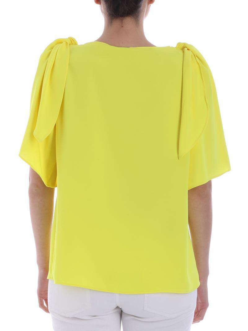 Outlet Store Yellow top with cut-out Parosh Online Shop Fake Online Huge Surprise Online 2018 Newest ZyCD45p6ea
