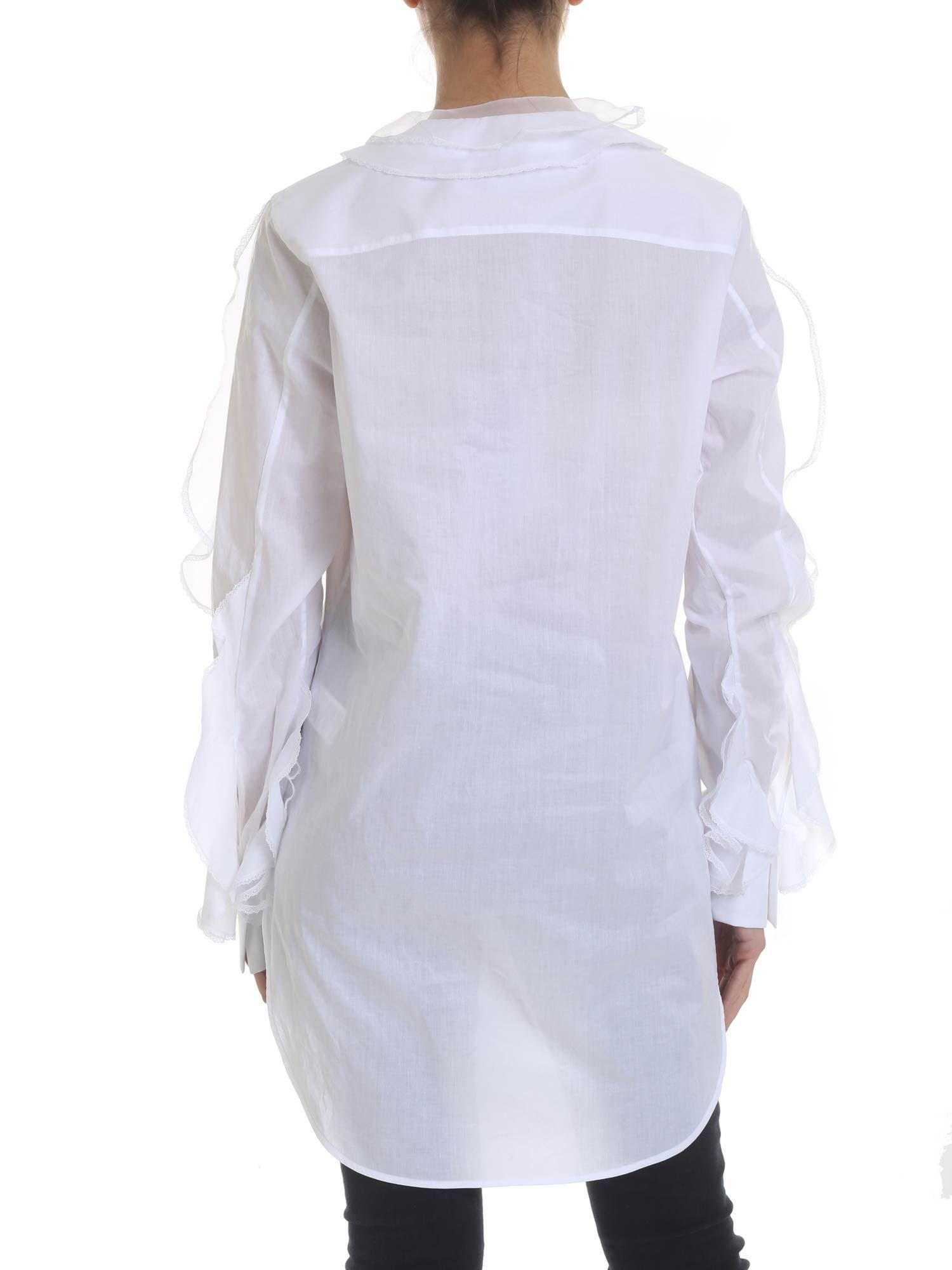 242bc2f677ee22 Ermanno Scervino - Blouse In White With Ruffles And Lace - Lyst. View  fullscreen