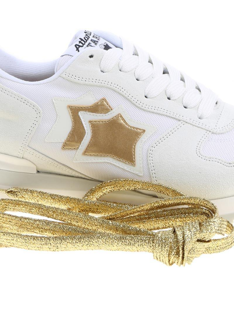 Atlantic Stars Suede White Vega Sneakers With Golden Details