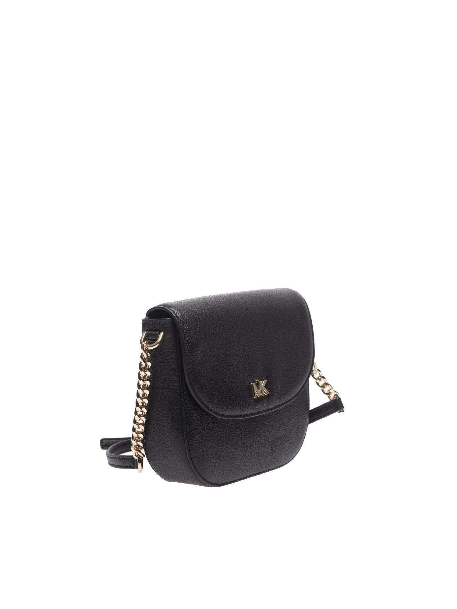 20ddc8a649ab4 Michael Kors Black Leather Shoulder Bag With Logo in Black - Lyst