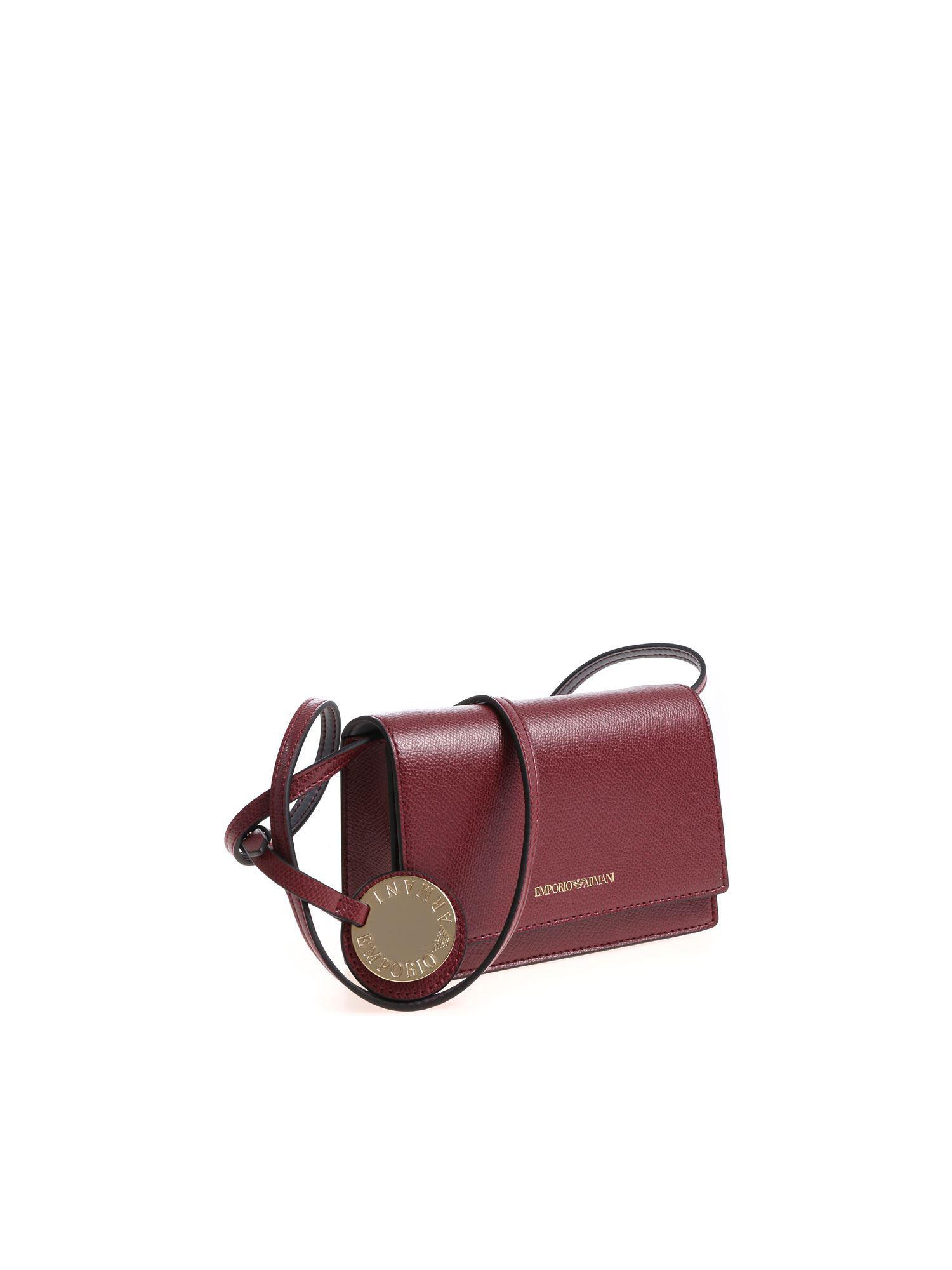 04de918608be Emporio Armani Burgundy Shoulder Bag With Golden Logo in Purple - Lyst