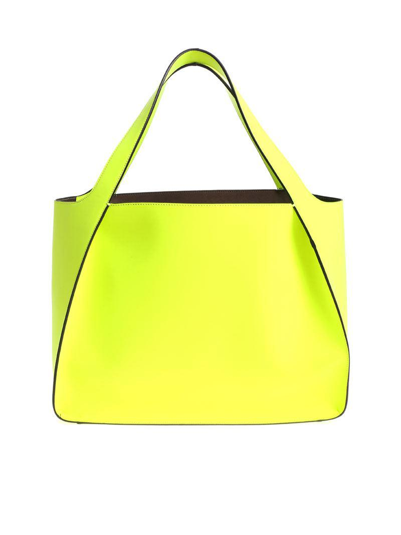 Stella McCartney Leather Neon Yellow Tote Bag With Pierced Logo