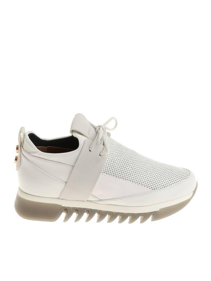 Alexander Smith Leather White Sneakers With Laminated Insert