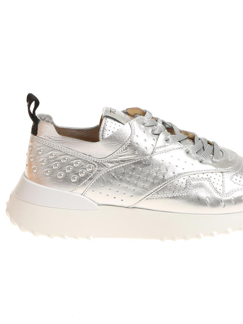 Tod's Leather Silver Laminated Sneakers in Metallic