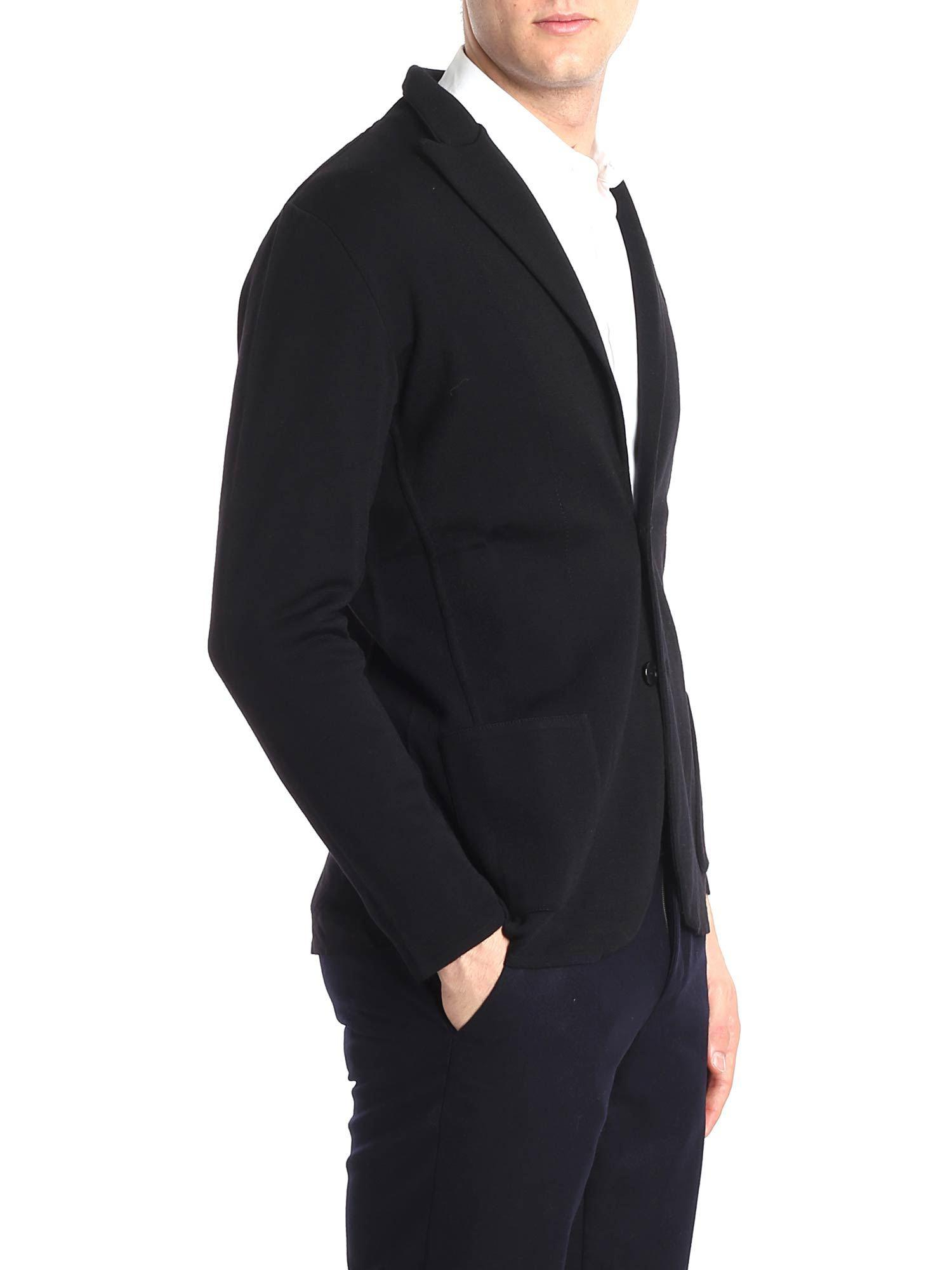 Lardini Wool Black Two Button Jacket for Men