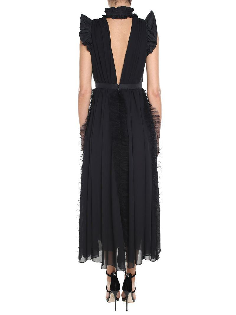 Black ruffled long dress with point desprit lace Msgm KH4JQ