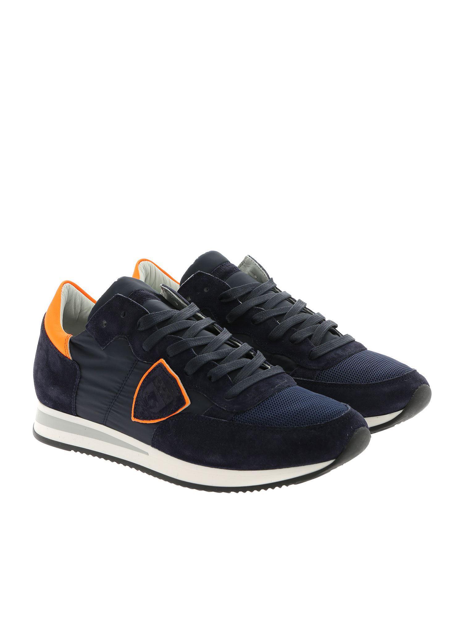 2936c093c94 philippe-model-blue-Tropez-L-Blue-Sneakers-With-Neon-Orange-Detail.jpeg