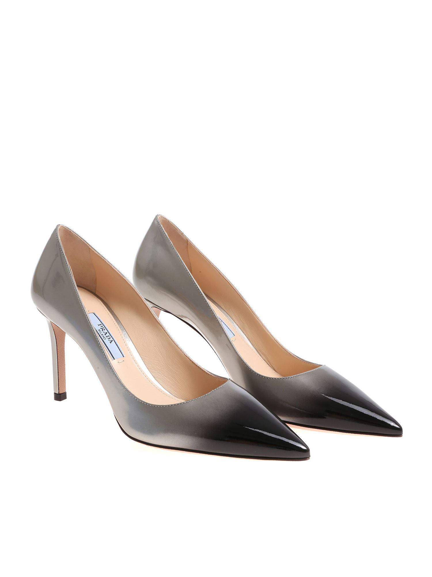 1887fa2a2dc1 Prada - Gray Patent Leather Pumps - Lyst. View fullscreen