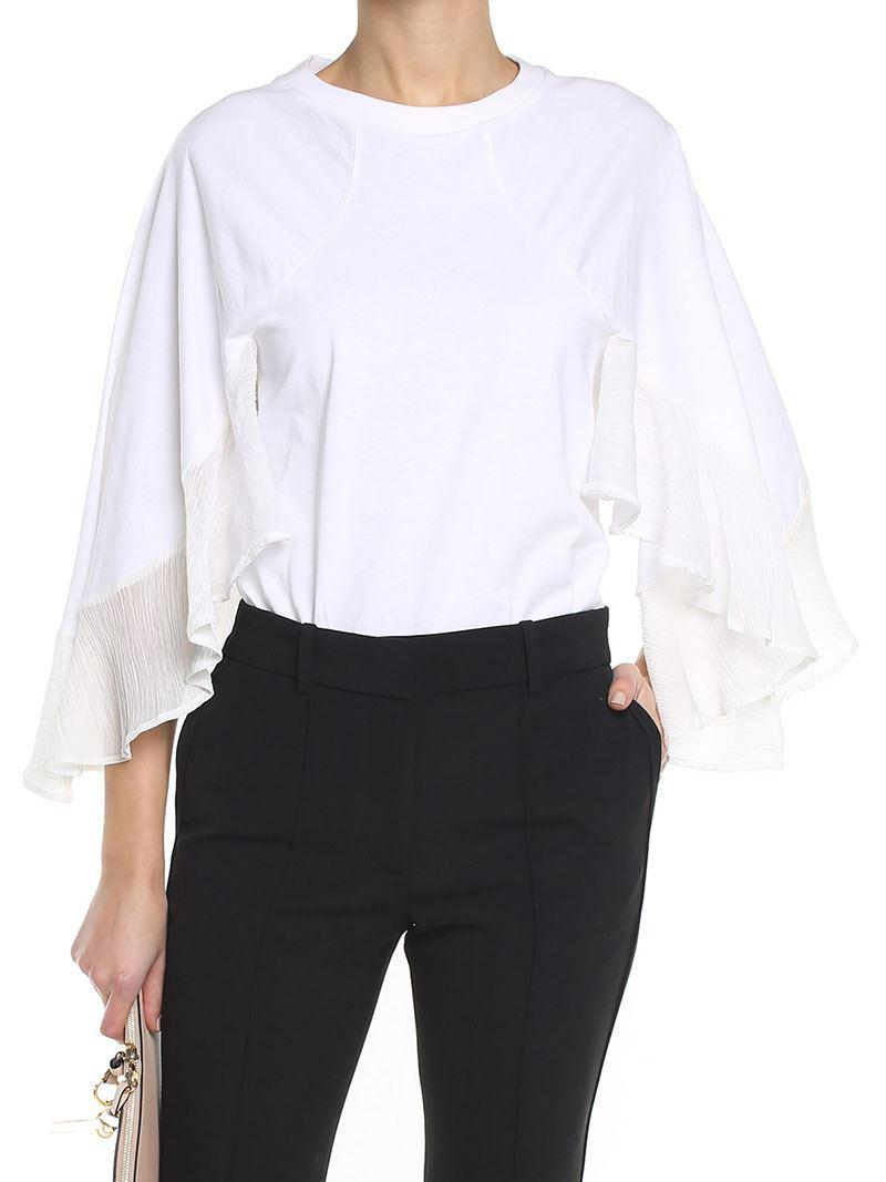 White jersey top with chiffon inserts Chloé Cheap Discount Sale RnHunUeTel